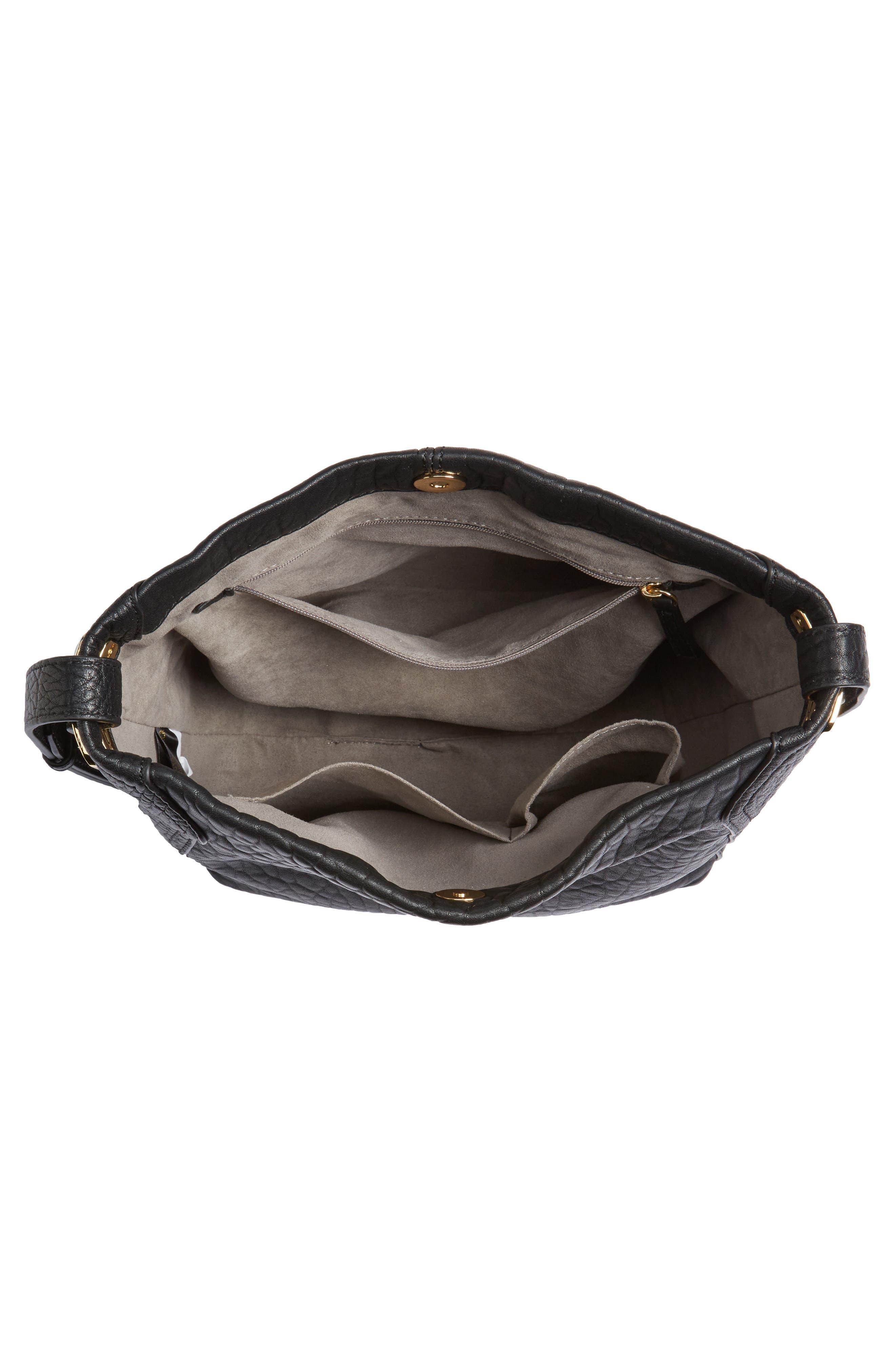 Fava Leather Bucket Bag,                             Alternate thumbnail 3, color,                             Black