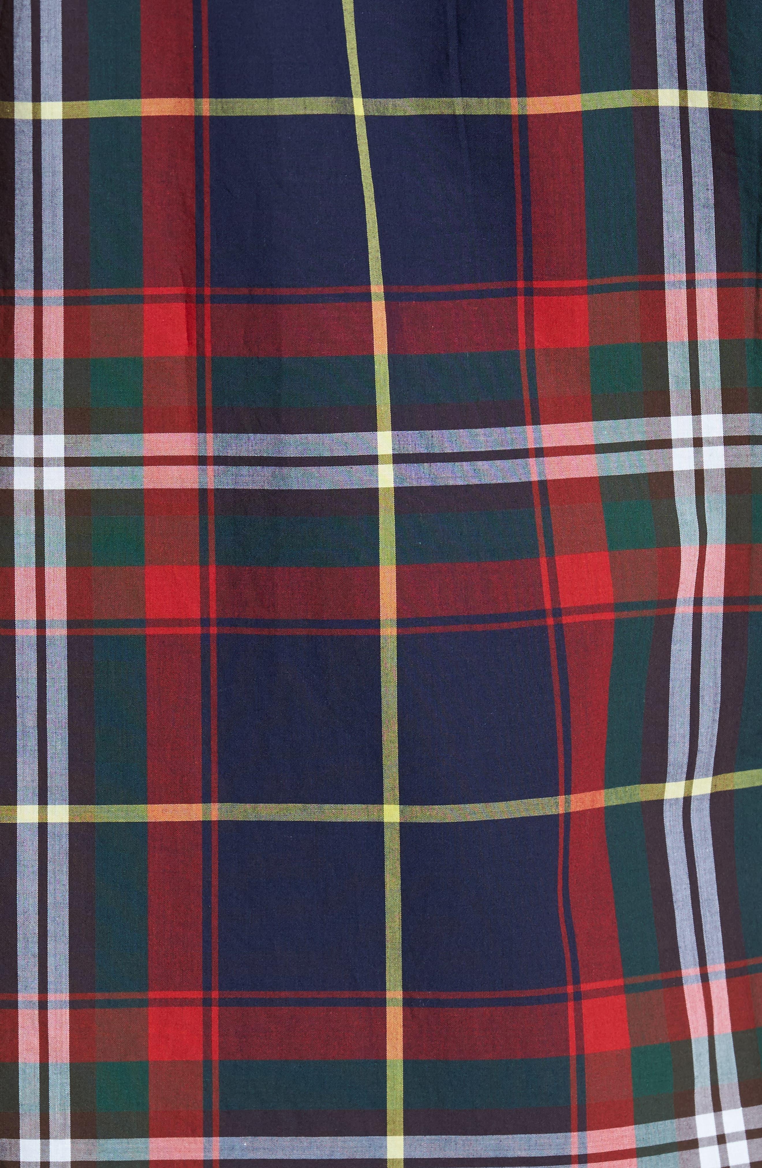 Oscar Trim Fit Plaid Sport Shirt,                             Alternate thumbnail 5, color,                             Navy