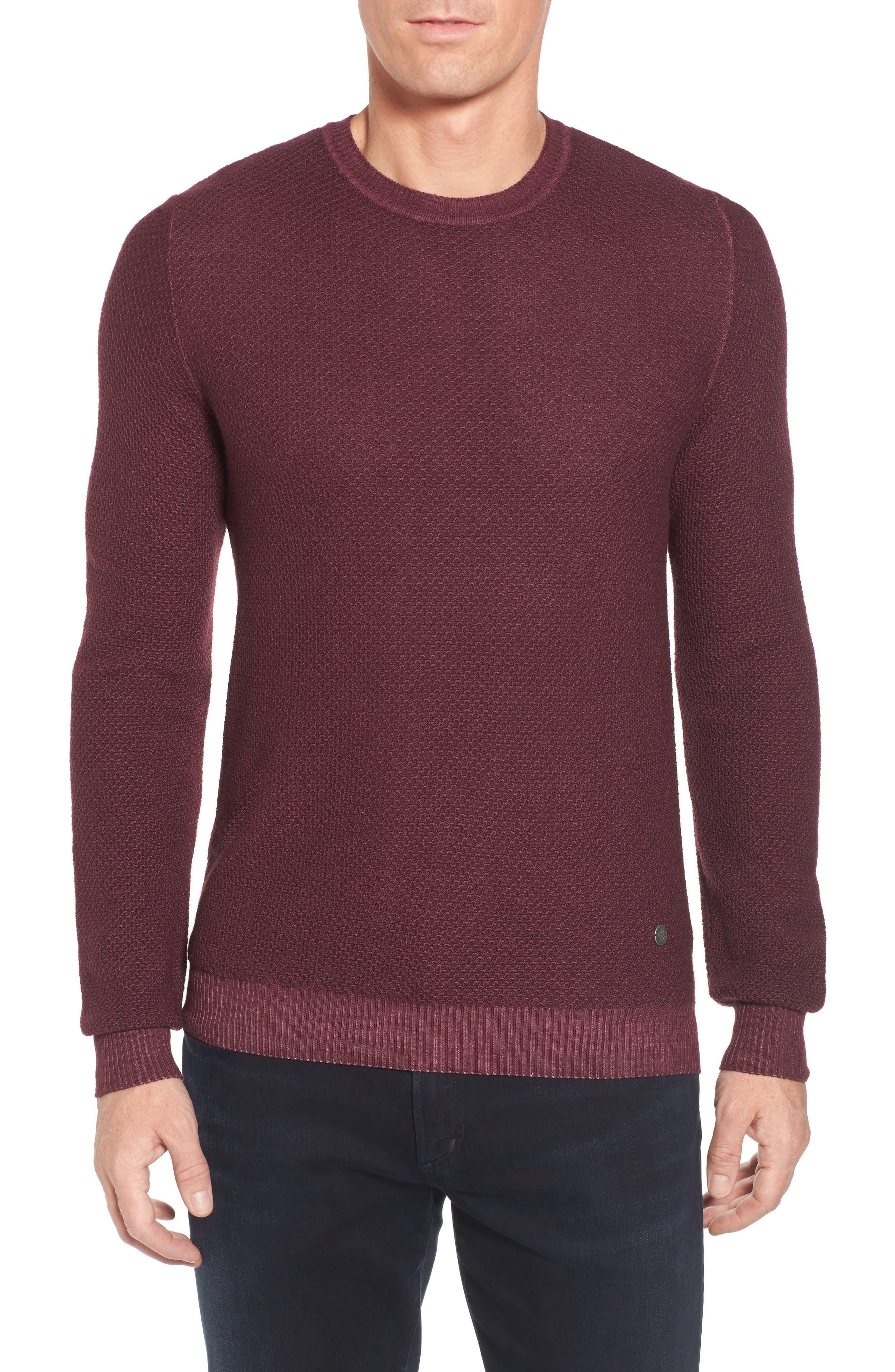 Honeycomb Merino Crewneck Sweater,                             Main thumbnail 1, color,                             Burgundy