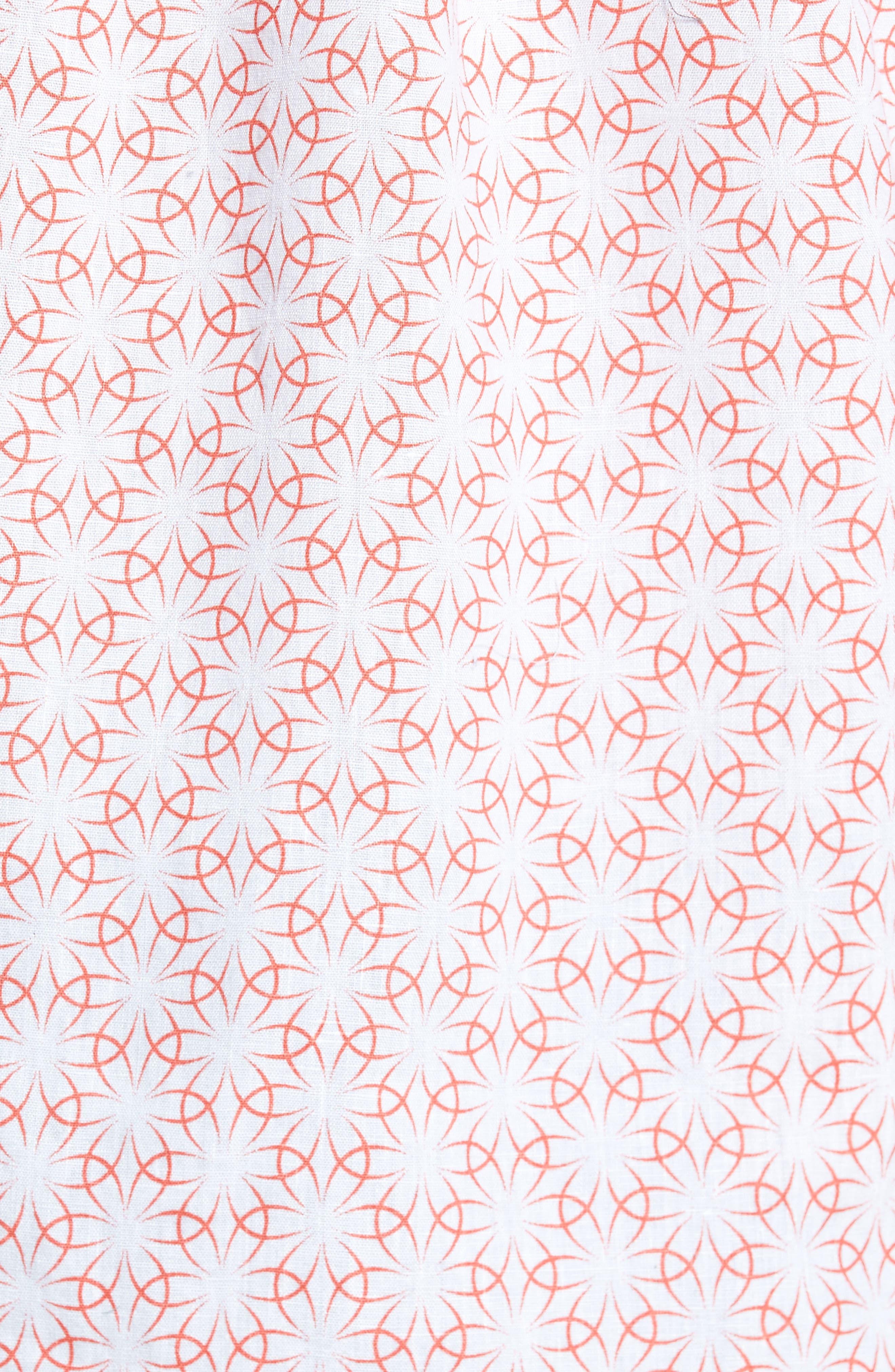 Gradient Flower Linen Sport Shirt,                             Alternate thumbnail 5, color,                             White/ Coral