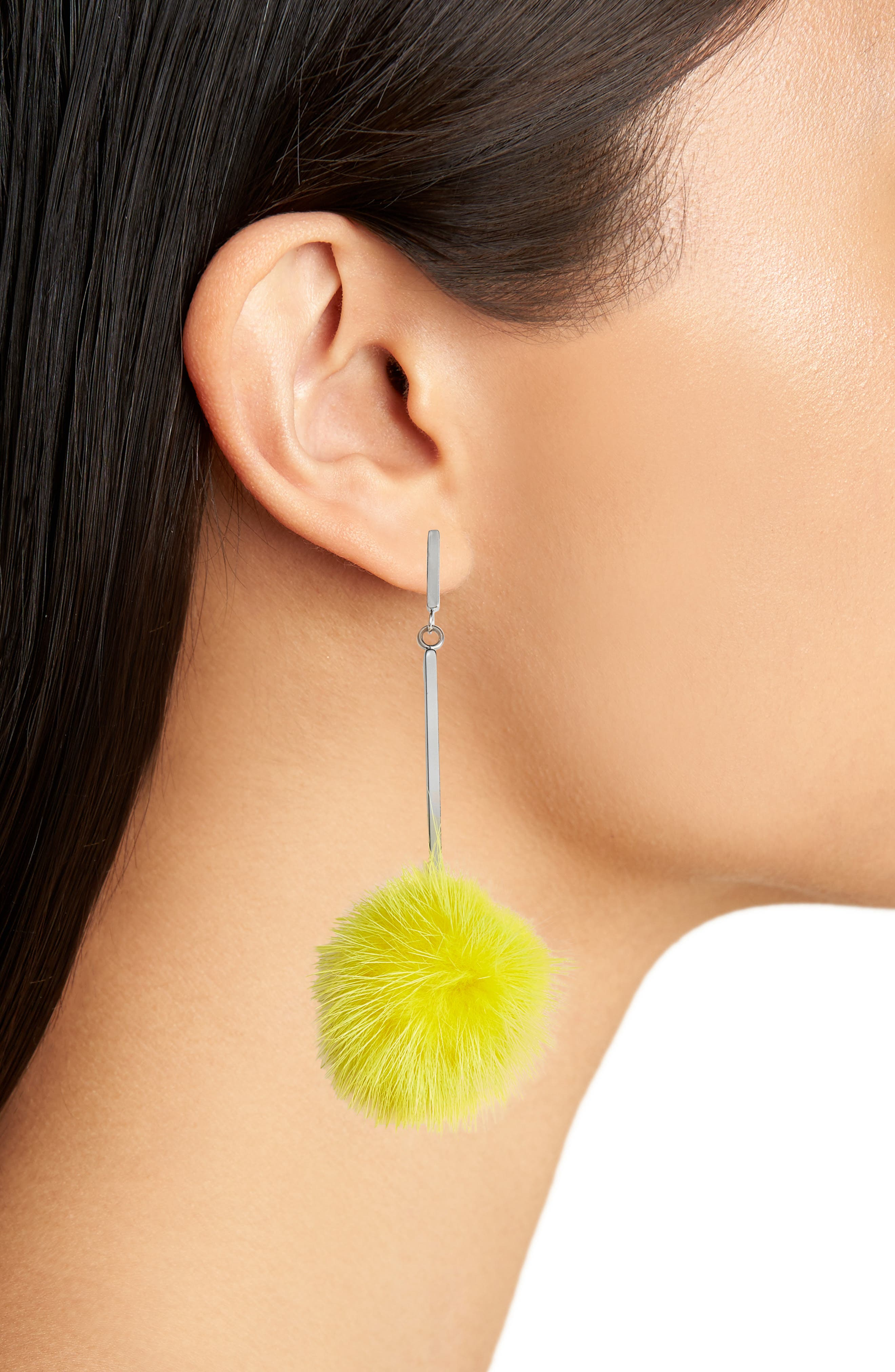 Genuine Mink Fur Pompom Earrings,                             Alternate thumbnail 2, color,                             Gunmetal/ Yellow