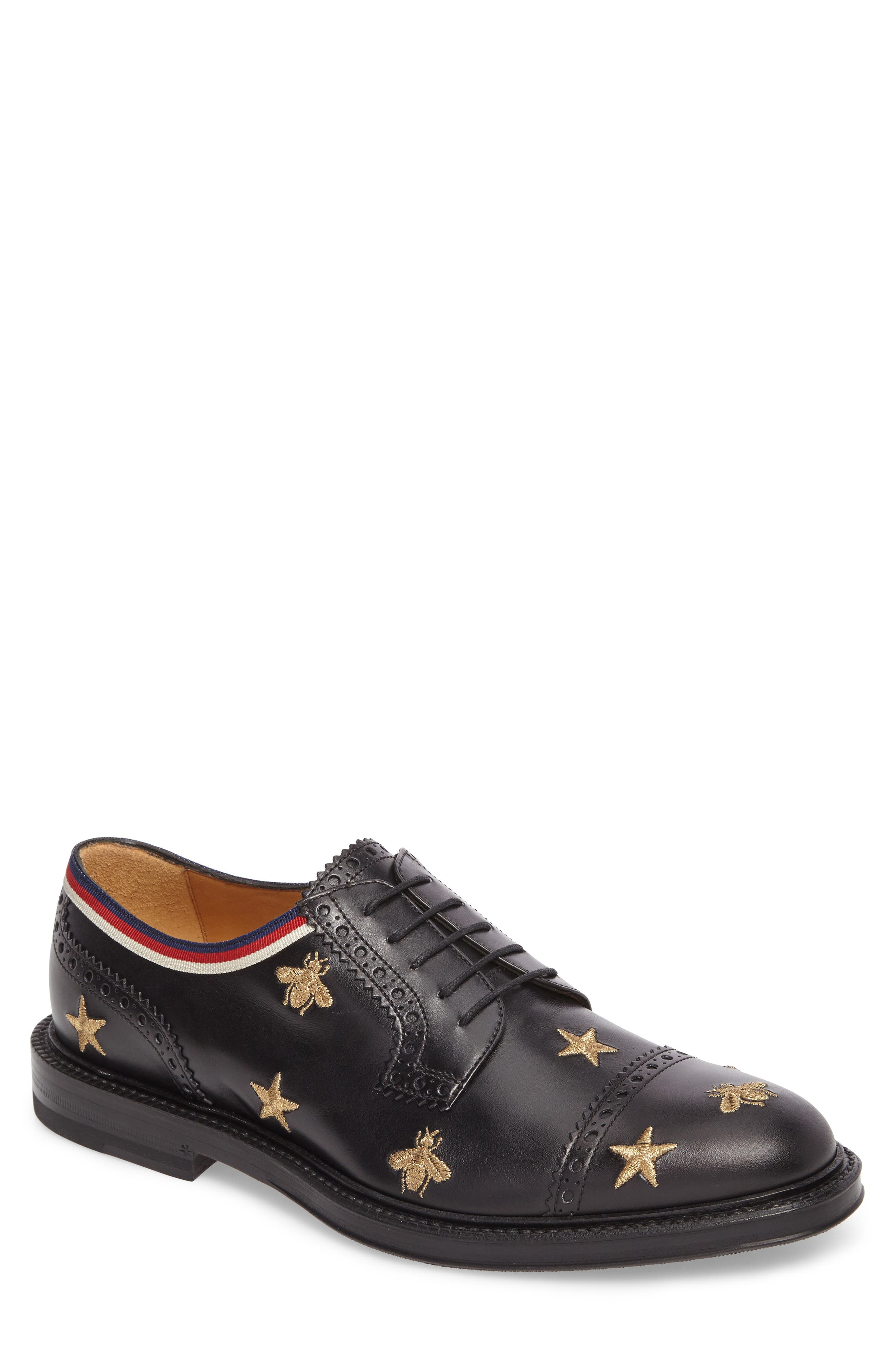 Embroidered Leather Brogue Shoe,                             Main thumbnail 1, color,                             Black
