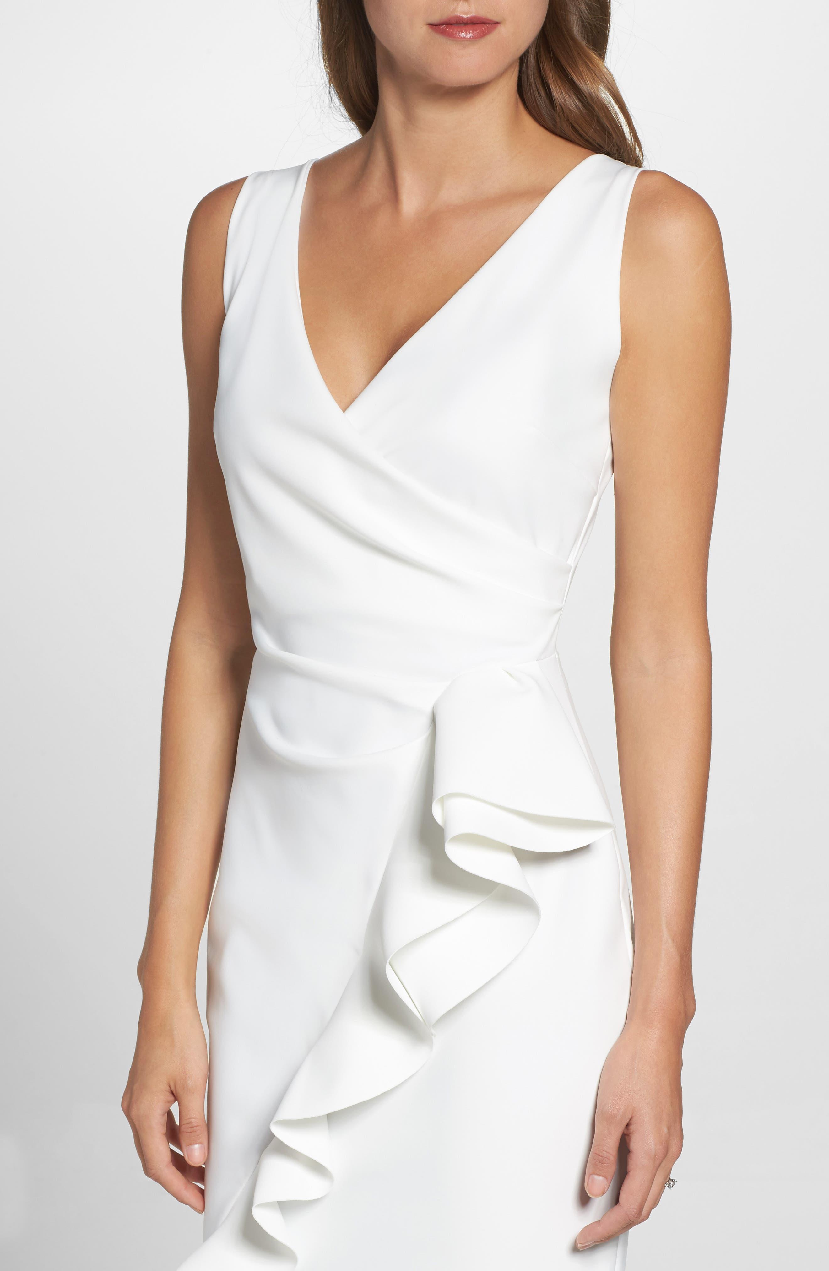 Keke Ruffle Front Surplice Gown,                             Alternate thumbnail 4, color,                             White