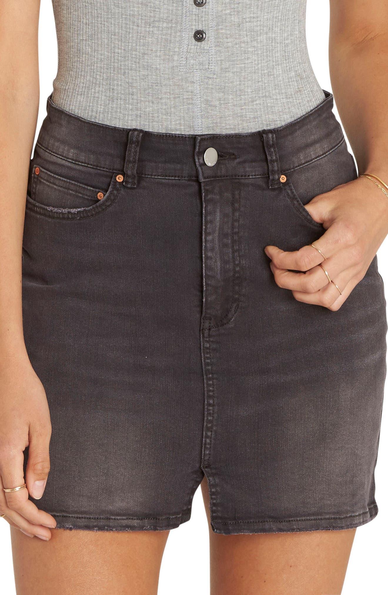 Alternate Image 1 Selected - Billabong Black Magic Denim Skirt (Black Pebble)