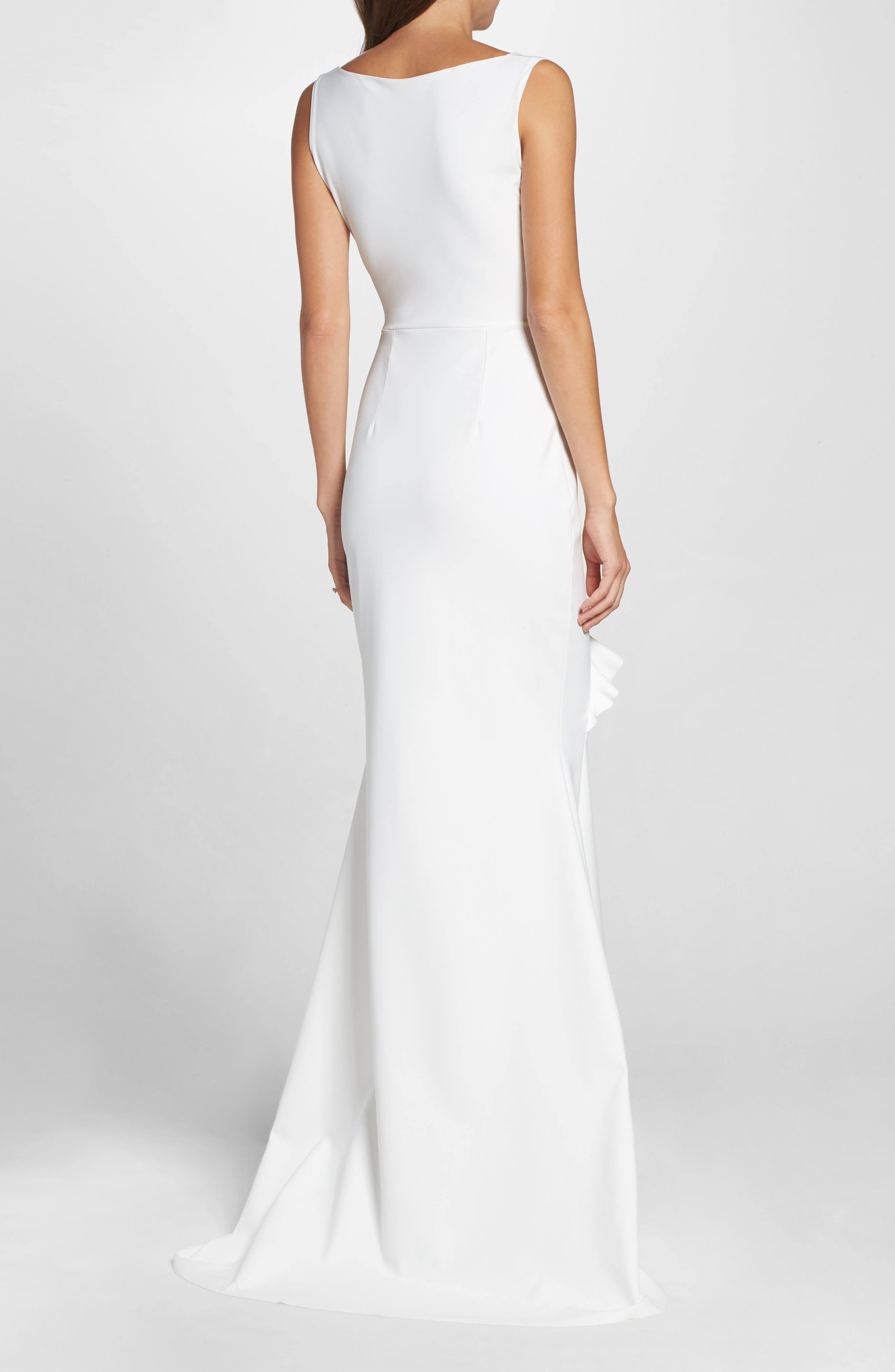 Keke Ruffle Front Surplice Gown,                             Alternate thumbnail 2, color,                             White