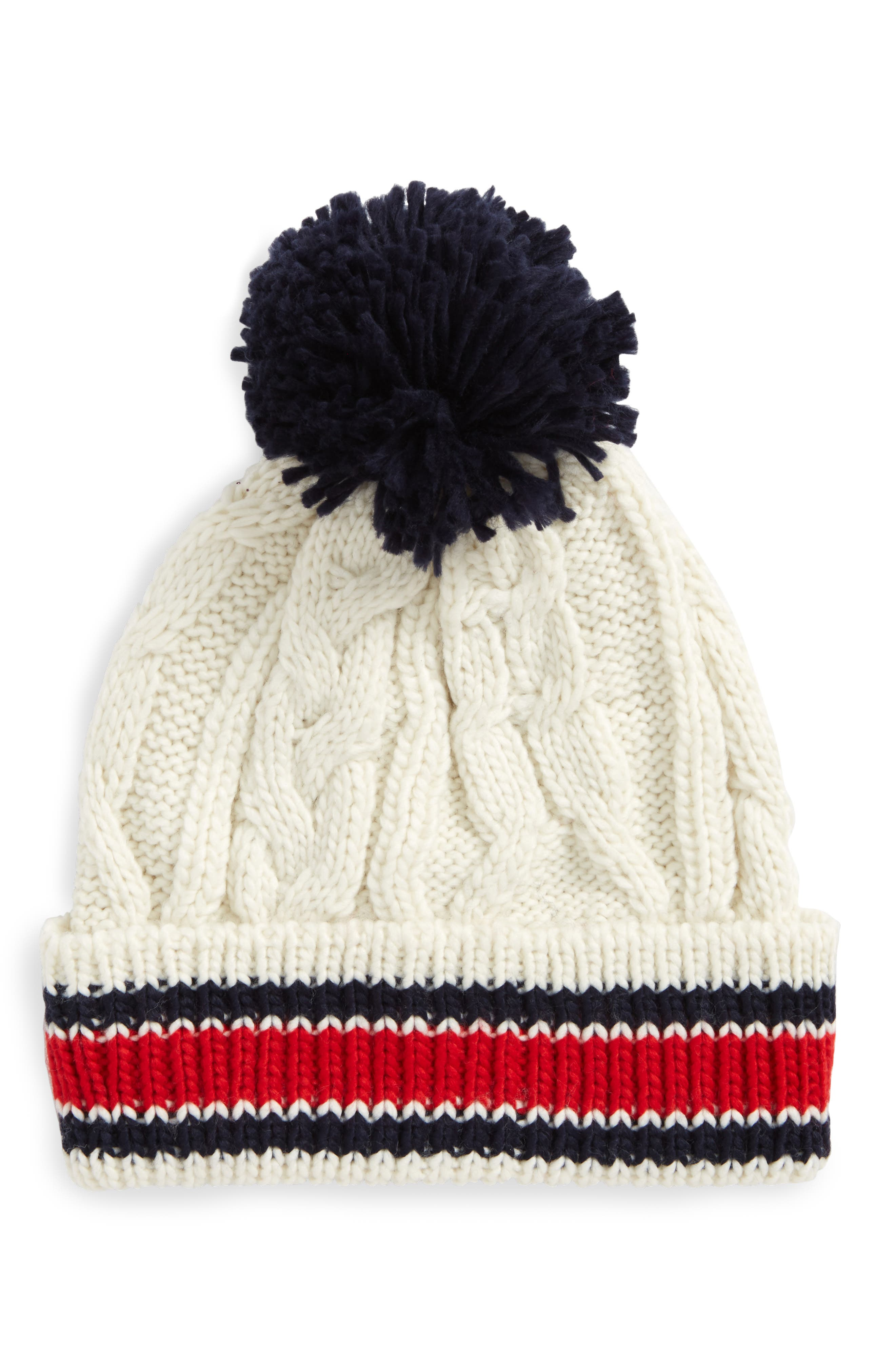 Varsity Stripe Cable Knit Beanie,                         Main,                         color, Navy/ Red
