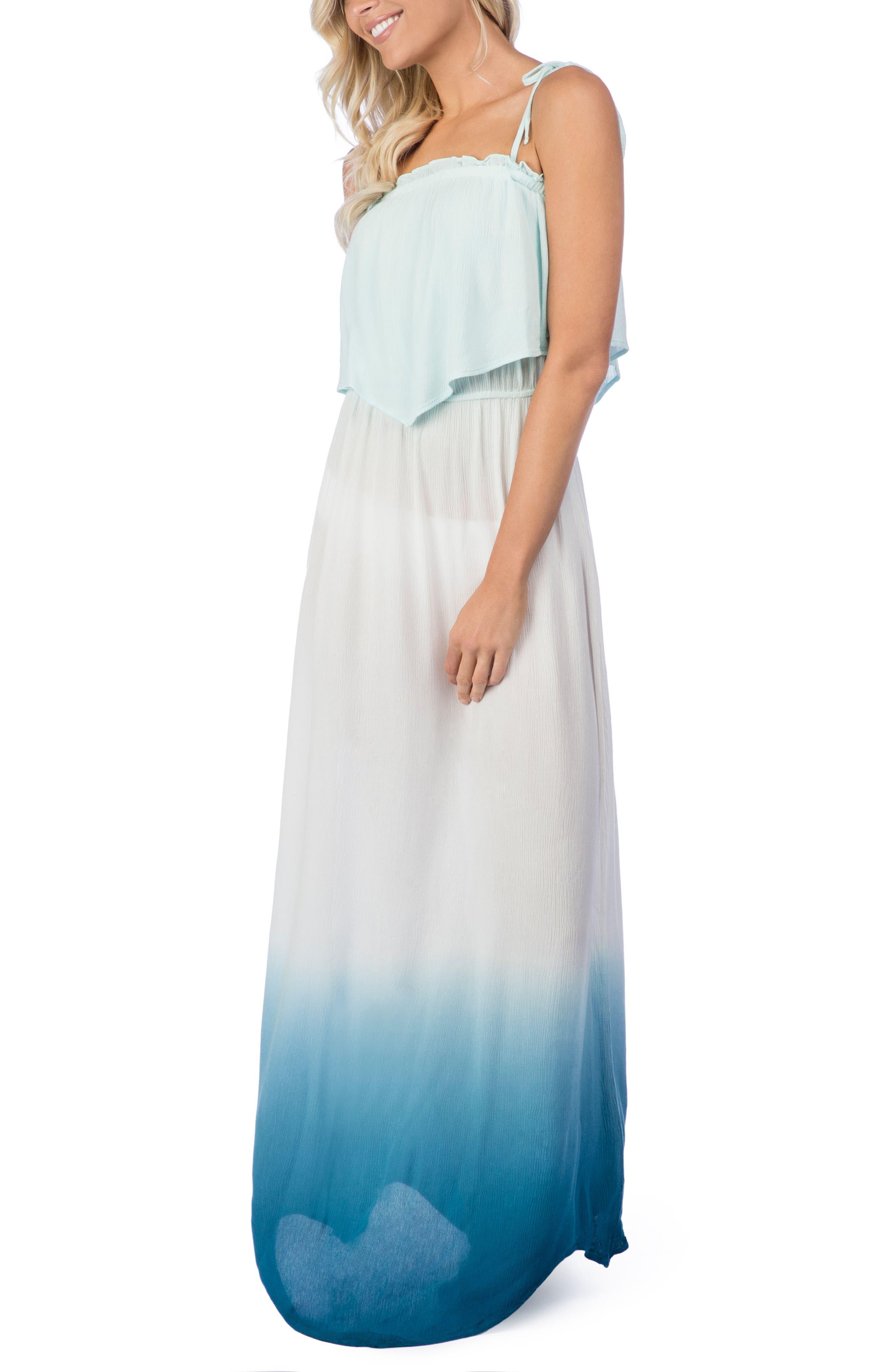 Paloma Dip Dye Cover-Up Maxi Dress,                         Main,                         color, Blue