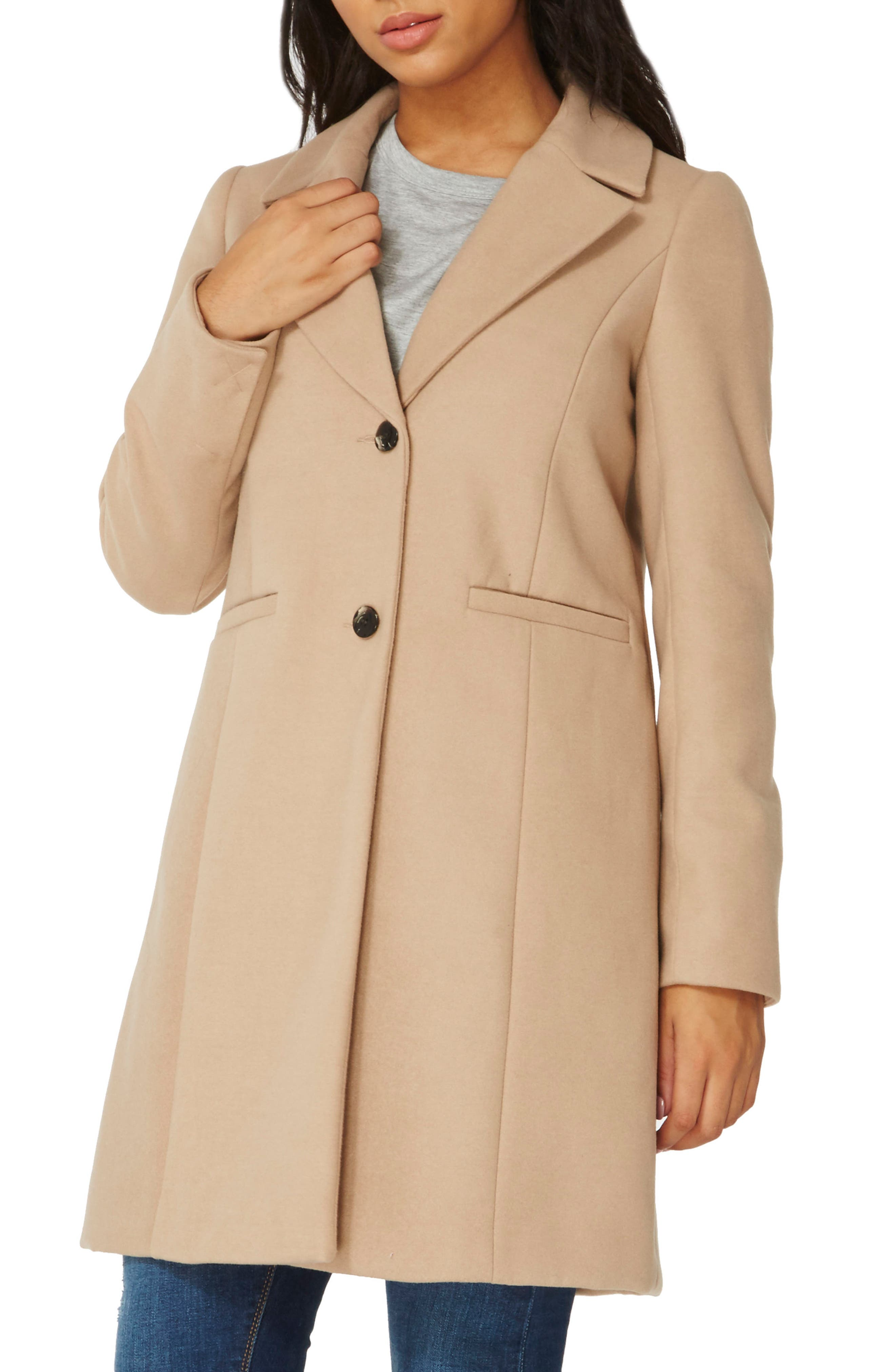 Single Breasted Coat,                         Main,                         color, Camel