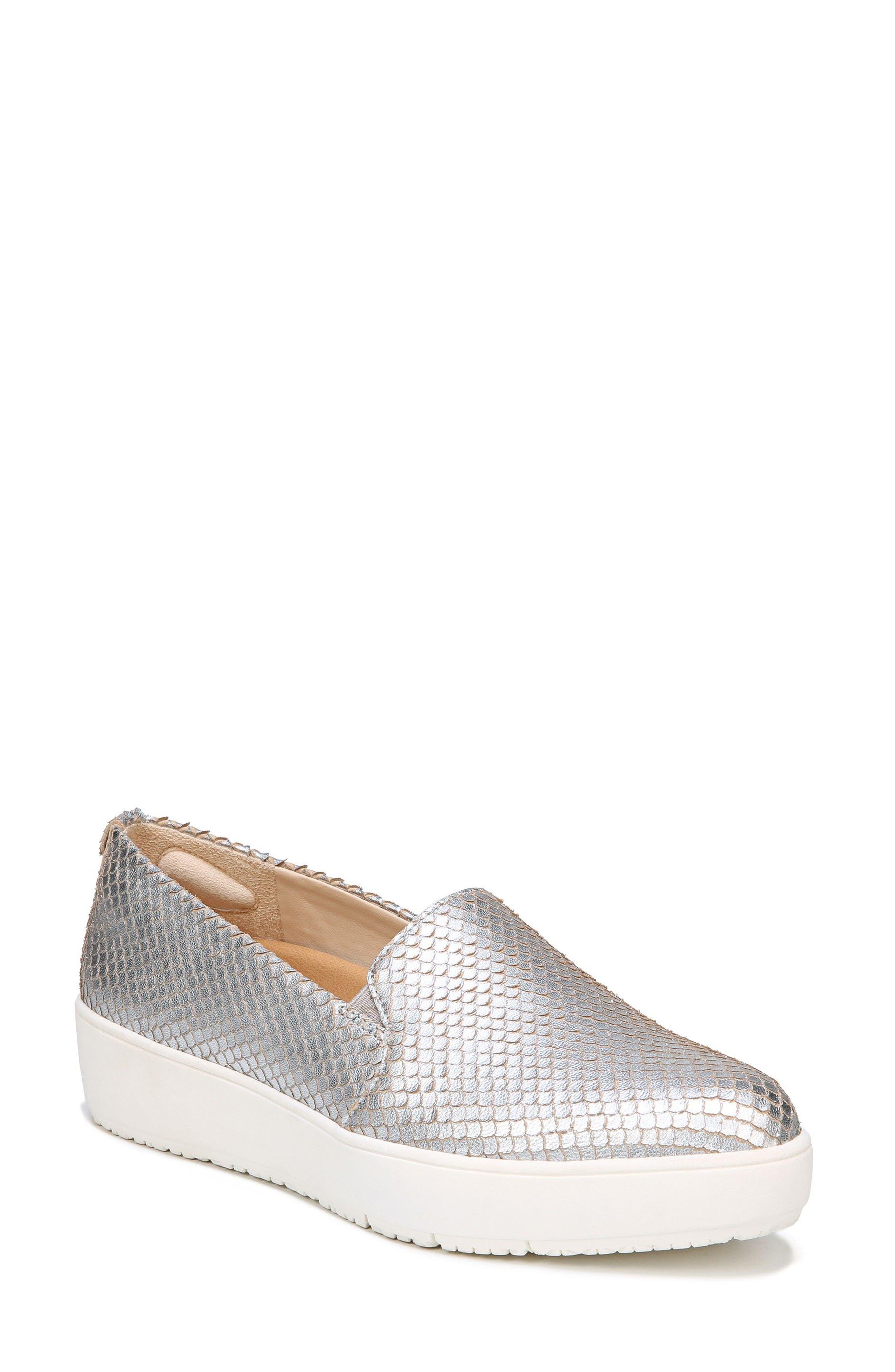 Bradyn Slip-On Sneaker,                             Main thumbnail 1, color,                             Silver Leather