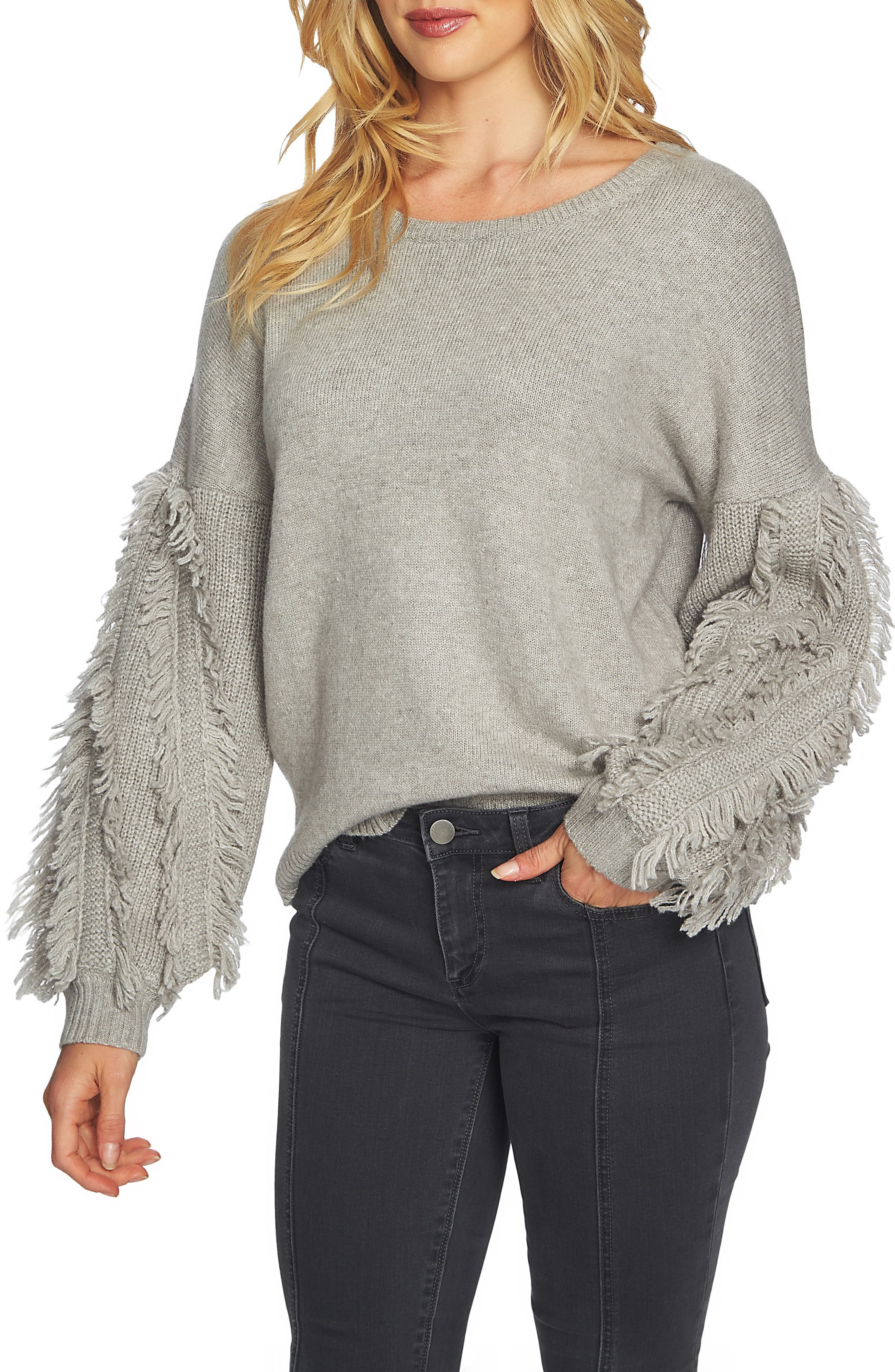 Fringe Sleeve Sweater,                             Main thumbnail 1, color,                             Light Heather Grey