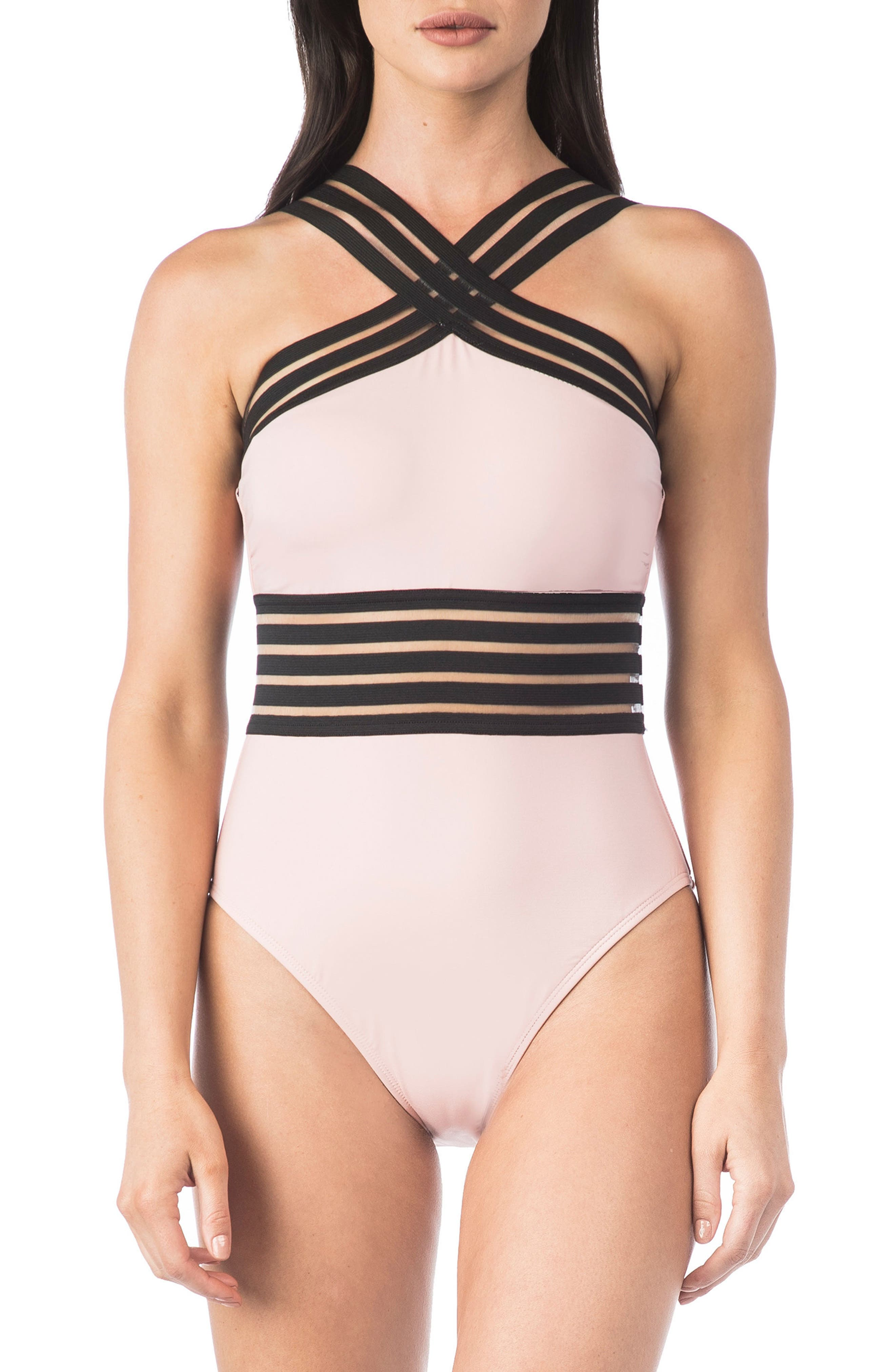 Stompin in My Stilettos High Neck One-Piece Swimsuit,                         Main,                         color, Blush