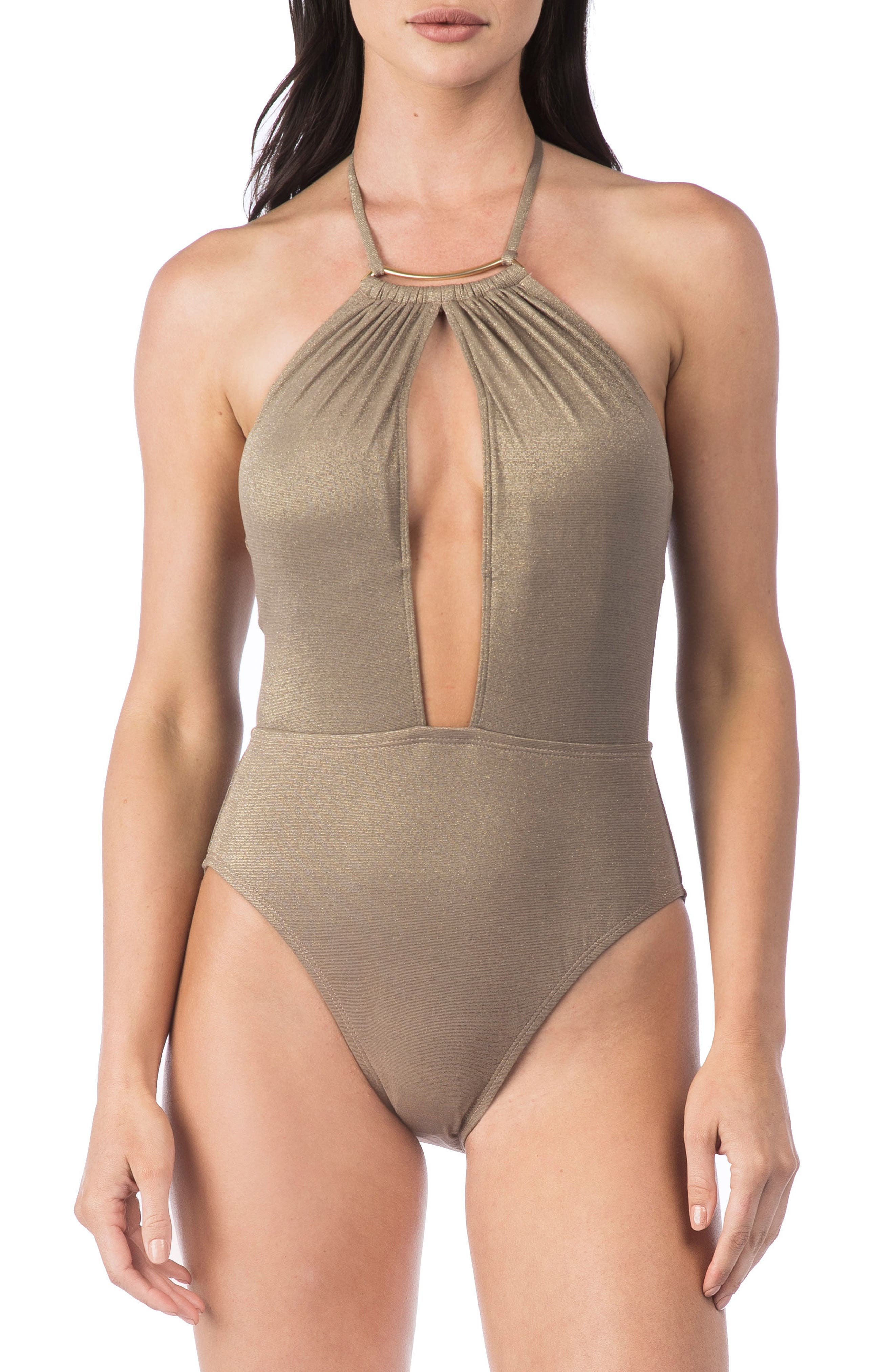 High Neck One-Piece Swimsuit,                             Main thumbnail 1, color,                             Champagne