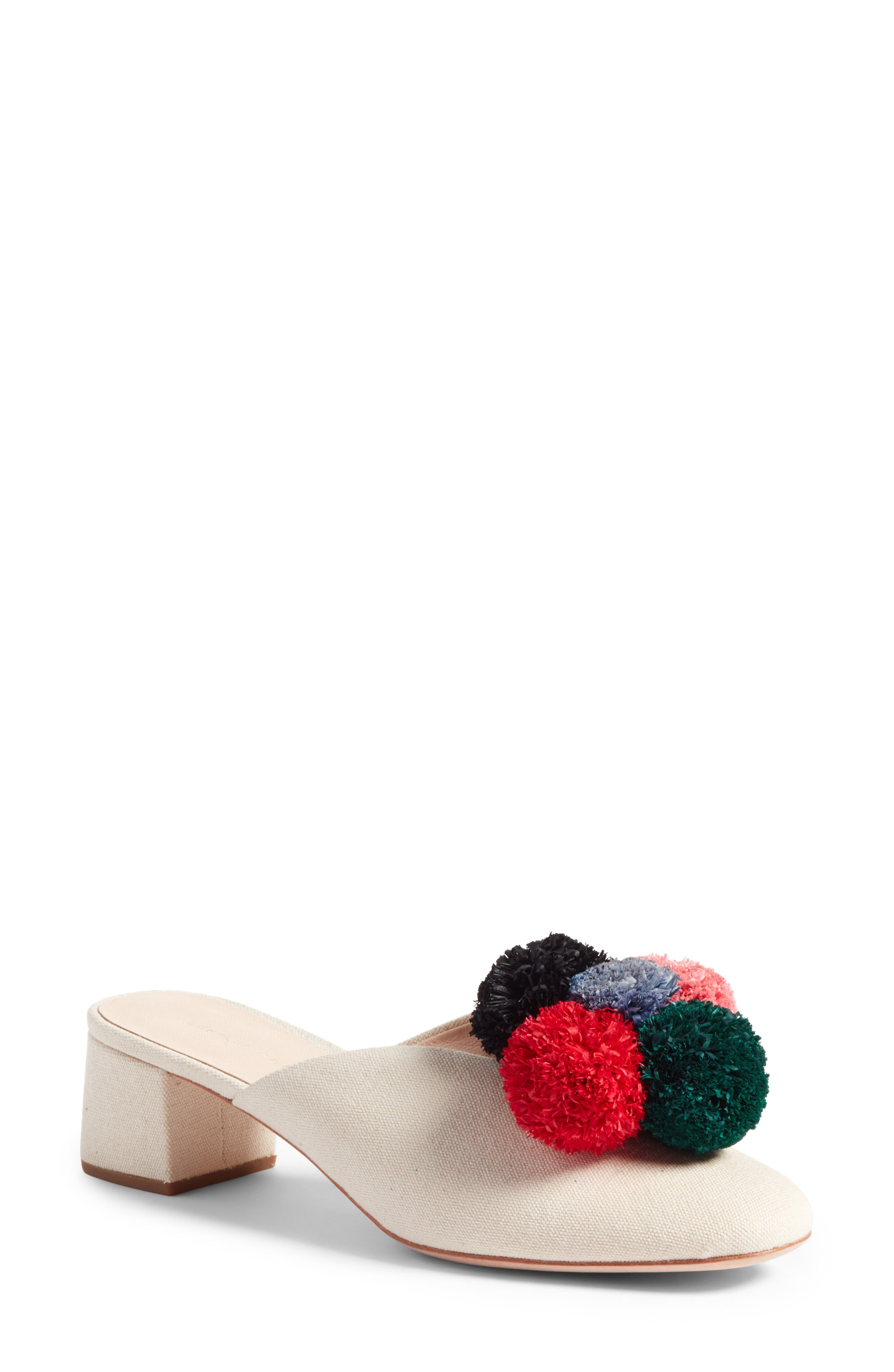 Lulu Pom Block Heel Mule,                         Main,                         color, Natural/ Multi