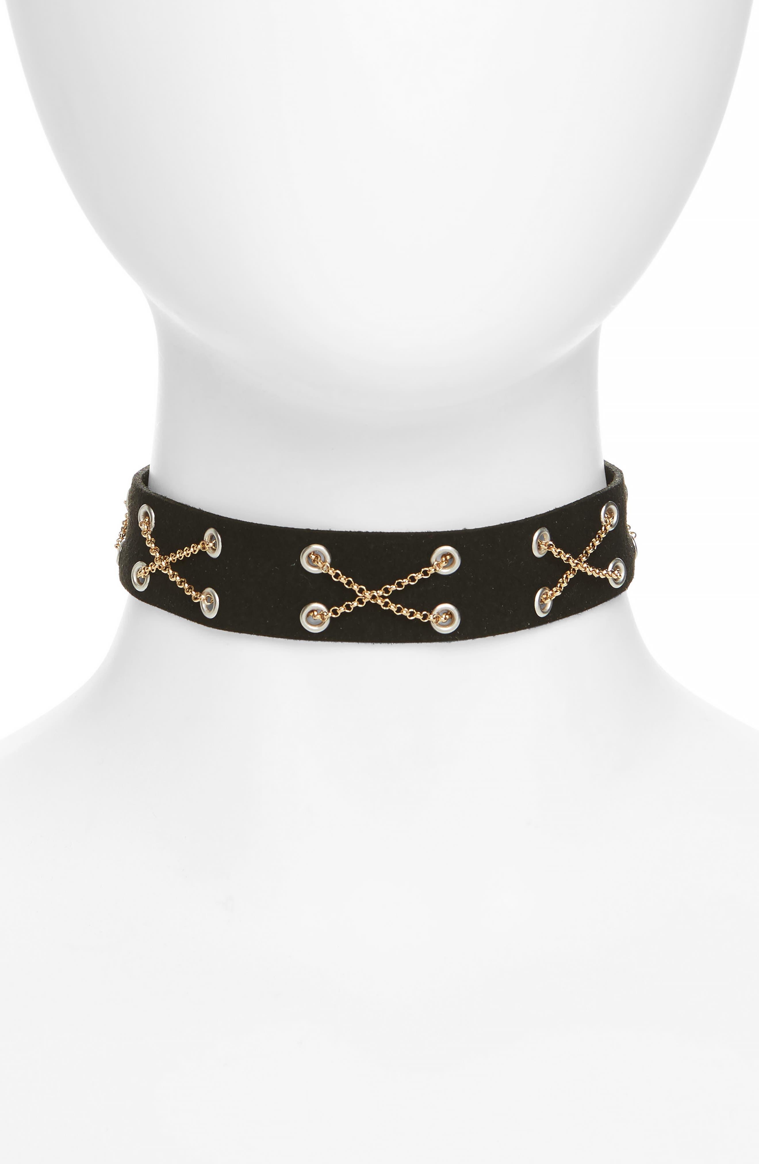 X Chain Choker,                         Main,                         color, Black