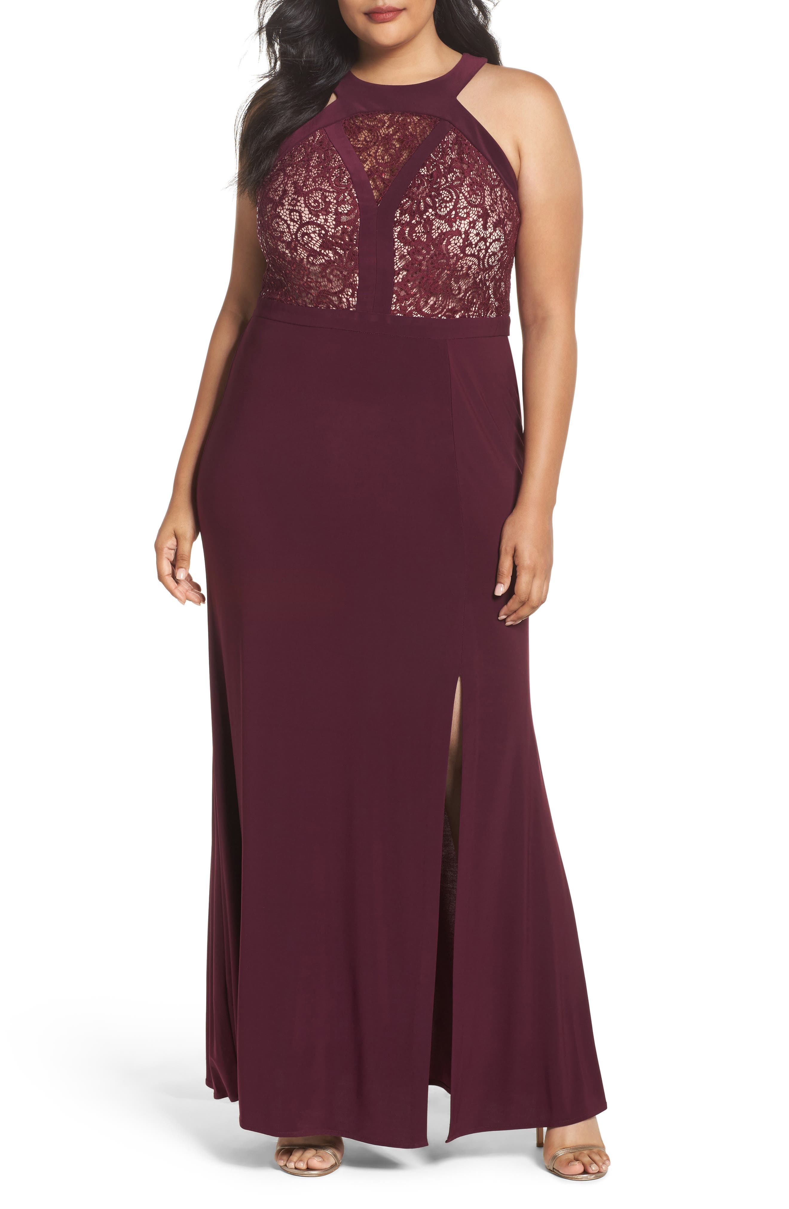 Alternate Image 1 Selected - Morgan & Co. Lace Bodice Dress (Plus Size)