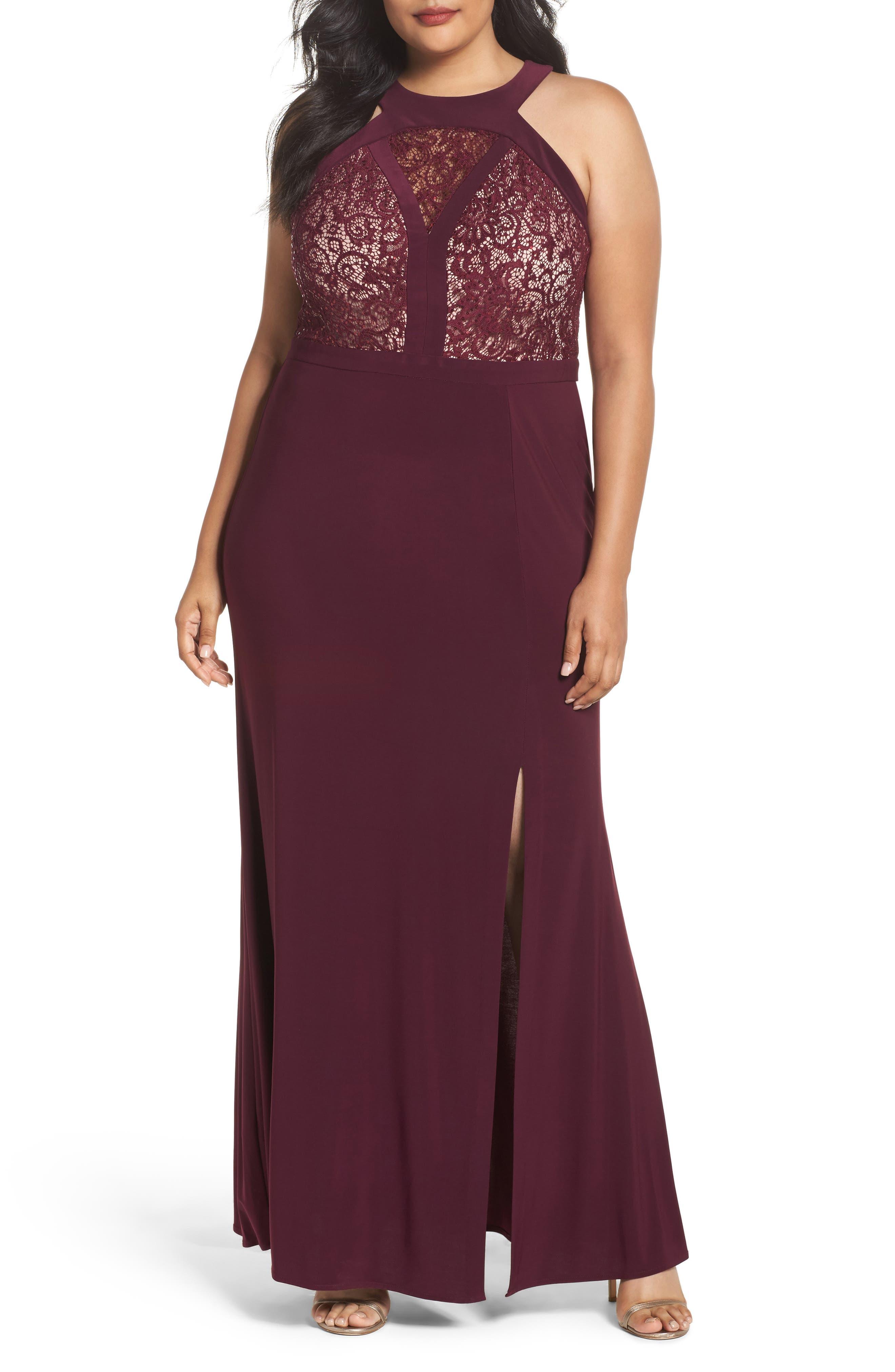 Lace Bodice Dress,                             Main thumbnail 1, color,                             Merlot/ Nude