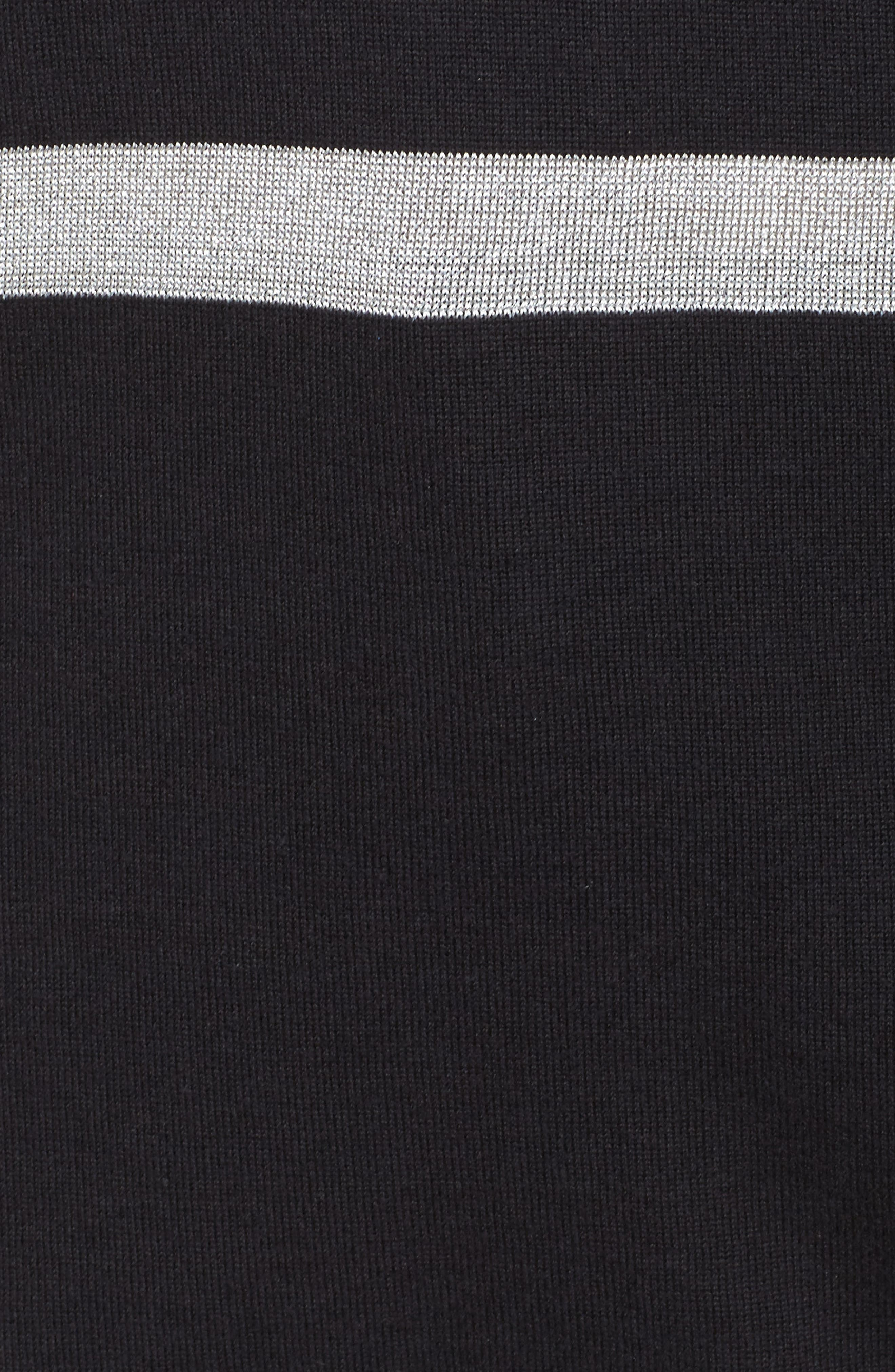 Chain Lace-Up Stripe Sweater,                             Alternate thumbnail 5, color,                             Black