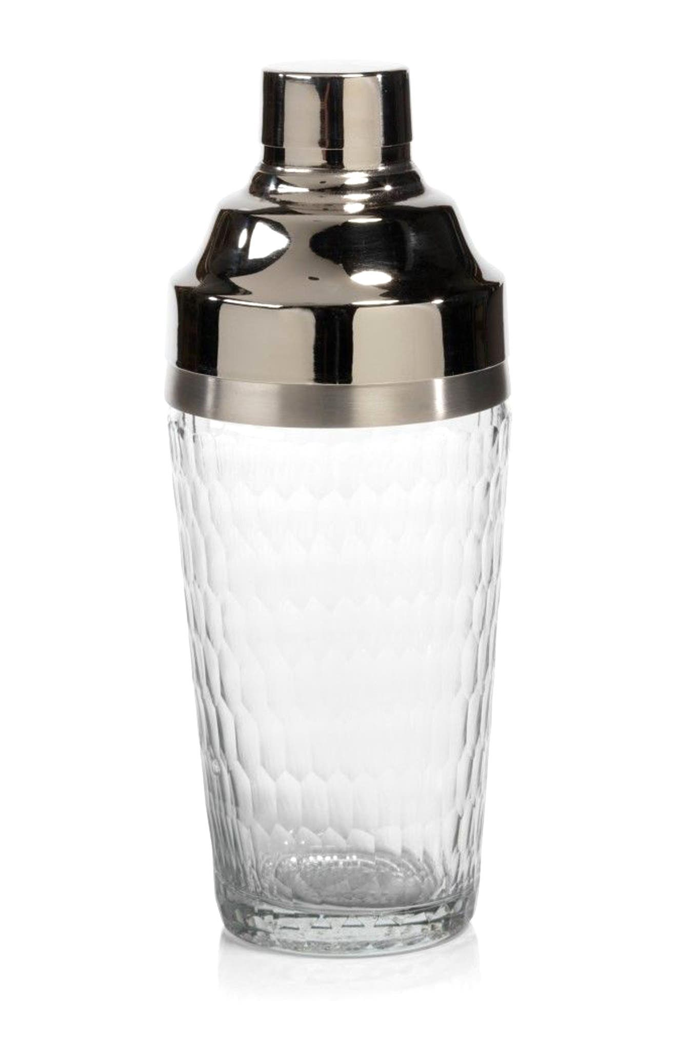 Glass Cocktail Shaker,                         Main,                         color, Silver