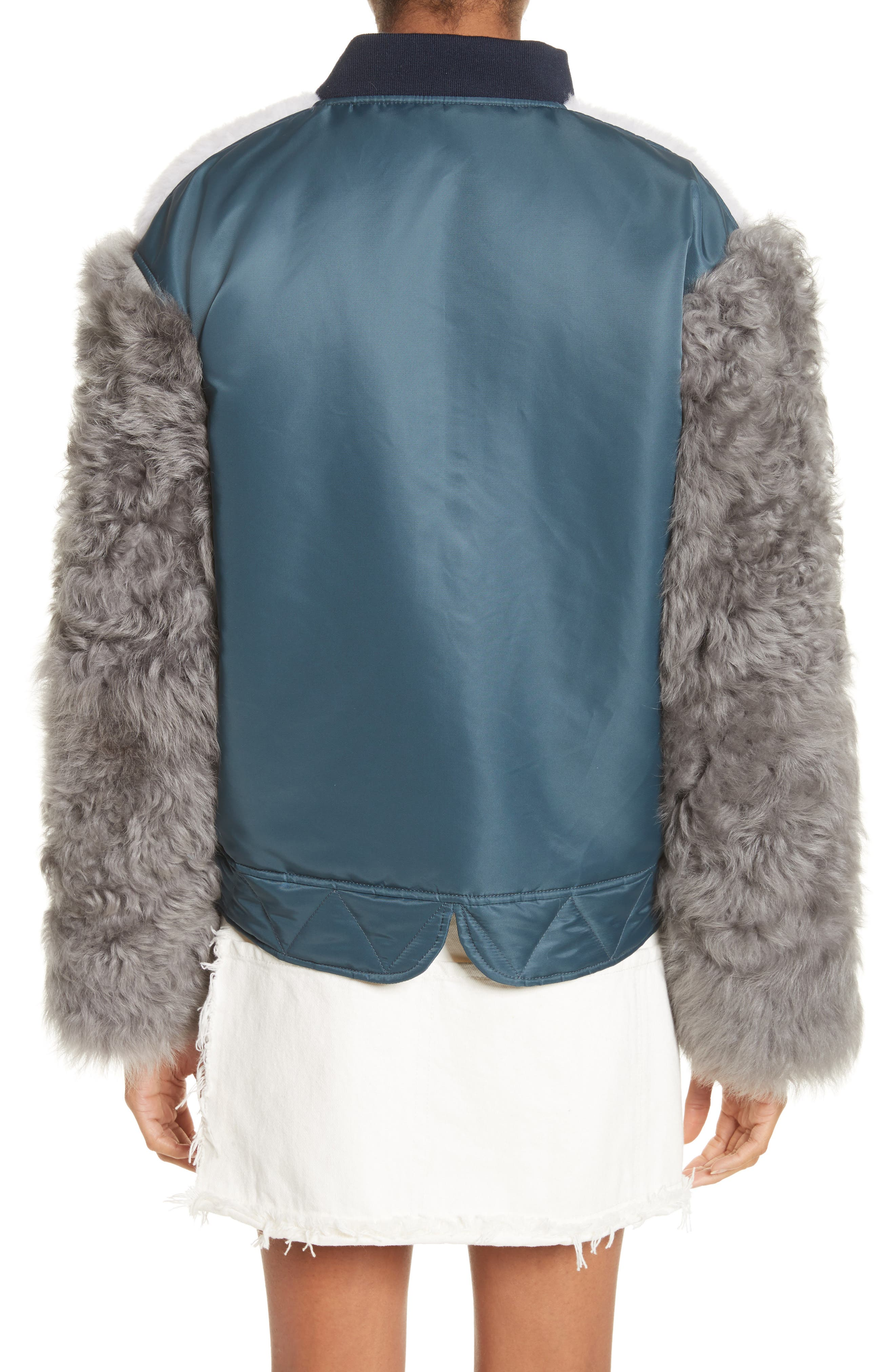 Peter Genuine Shearling Sleeve Jacket,                             Alternate thumbnail 2, color,                             Navy
