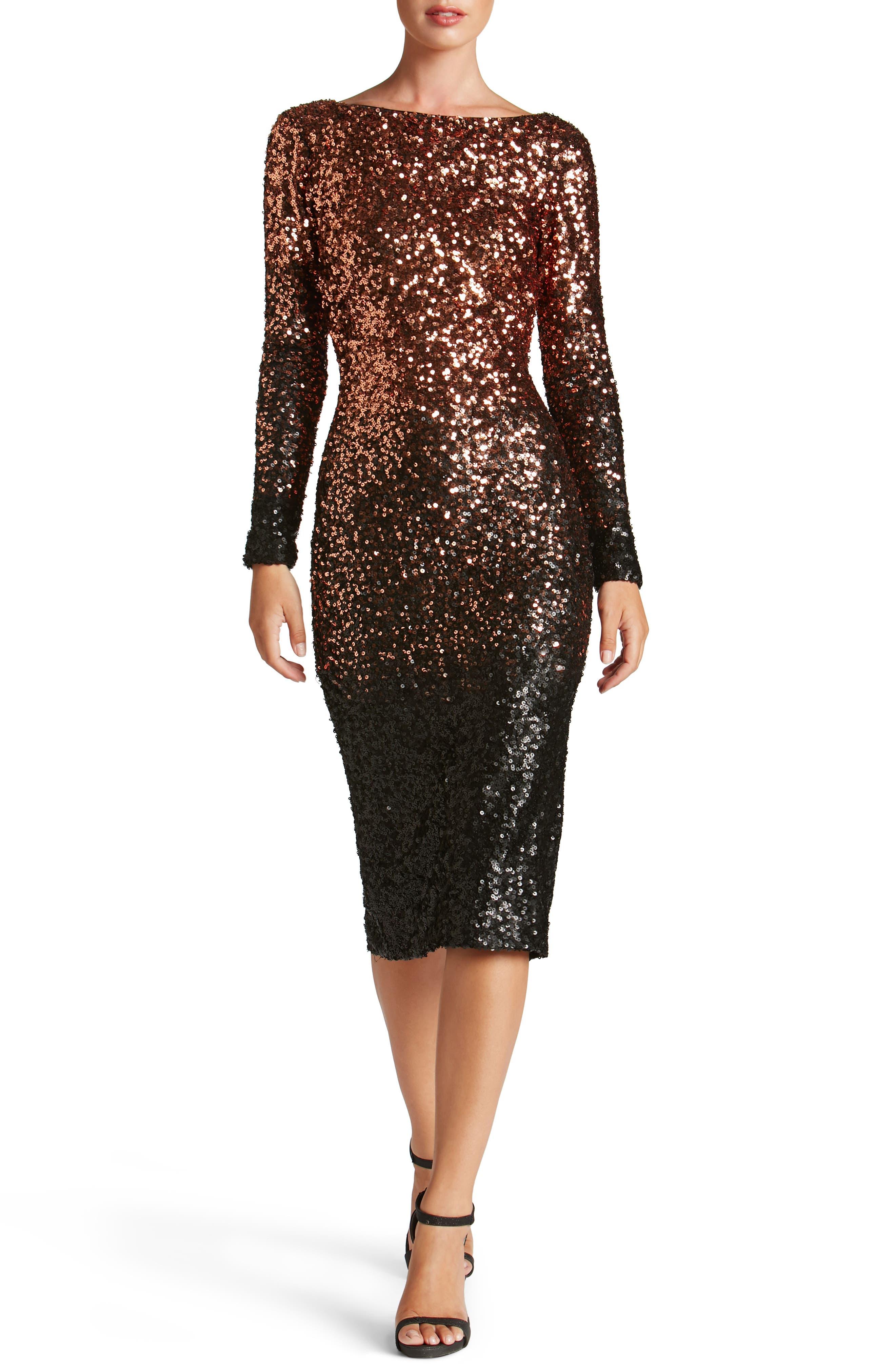 Emery Ombré Sequin Body-Con Dress,                         Main,                         color, Copper/ Black