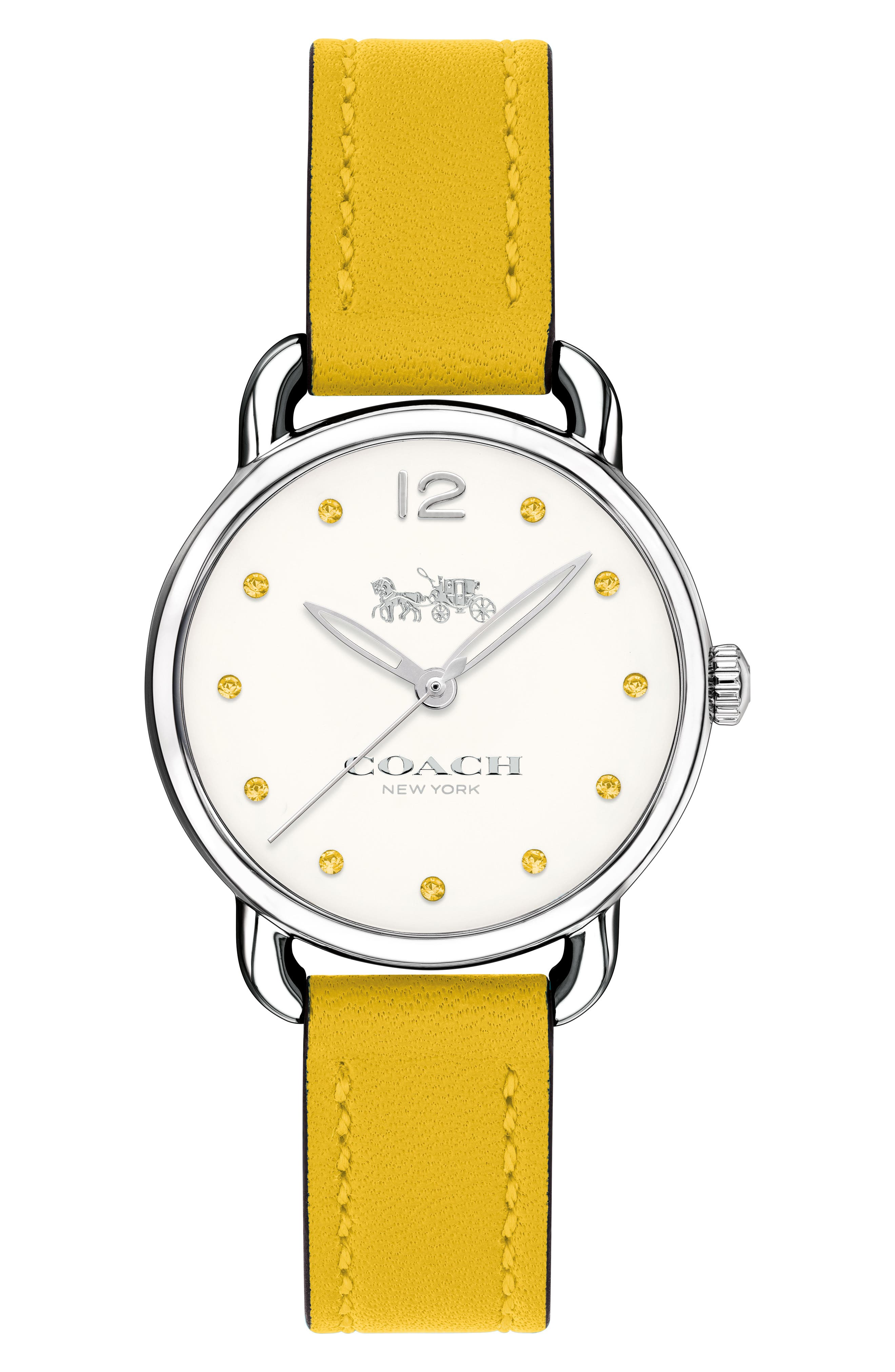 Delancey Crystal Accent Leather Strap Watch, 28mm,                         Main,                         color, Yellow/ White/ Silver