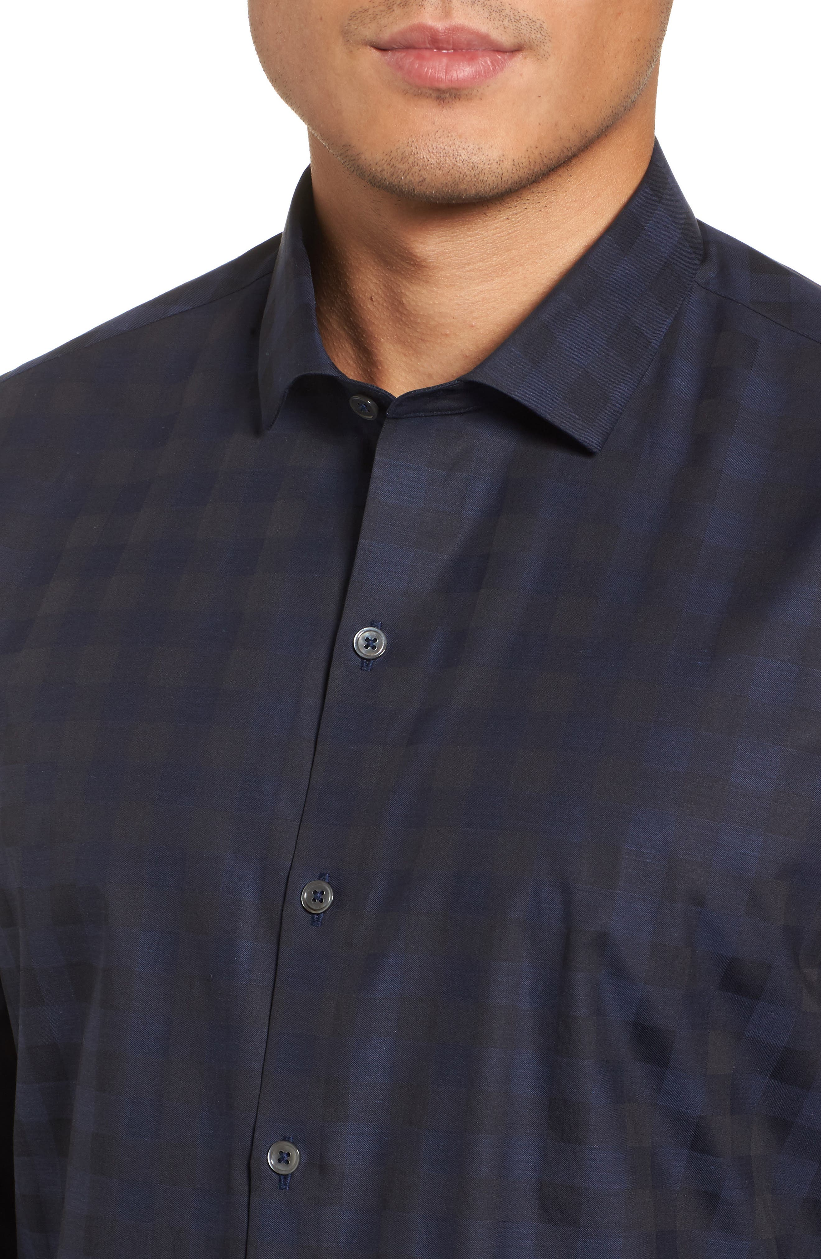 Torres Check Sport Shirt,                             Alternate thumbnail 4, color,                             Navy