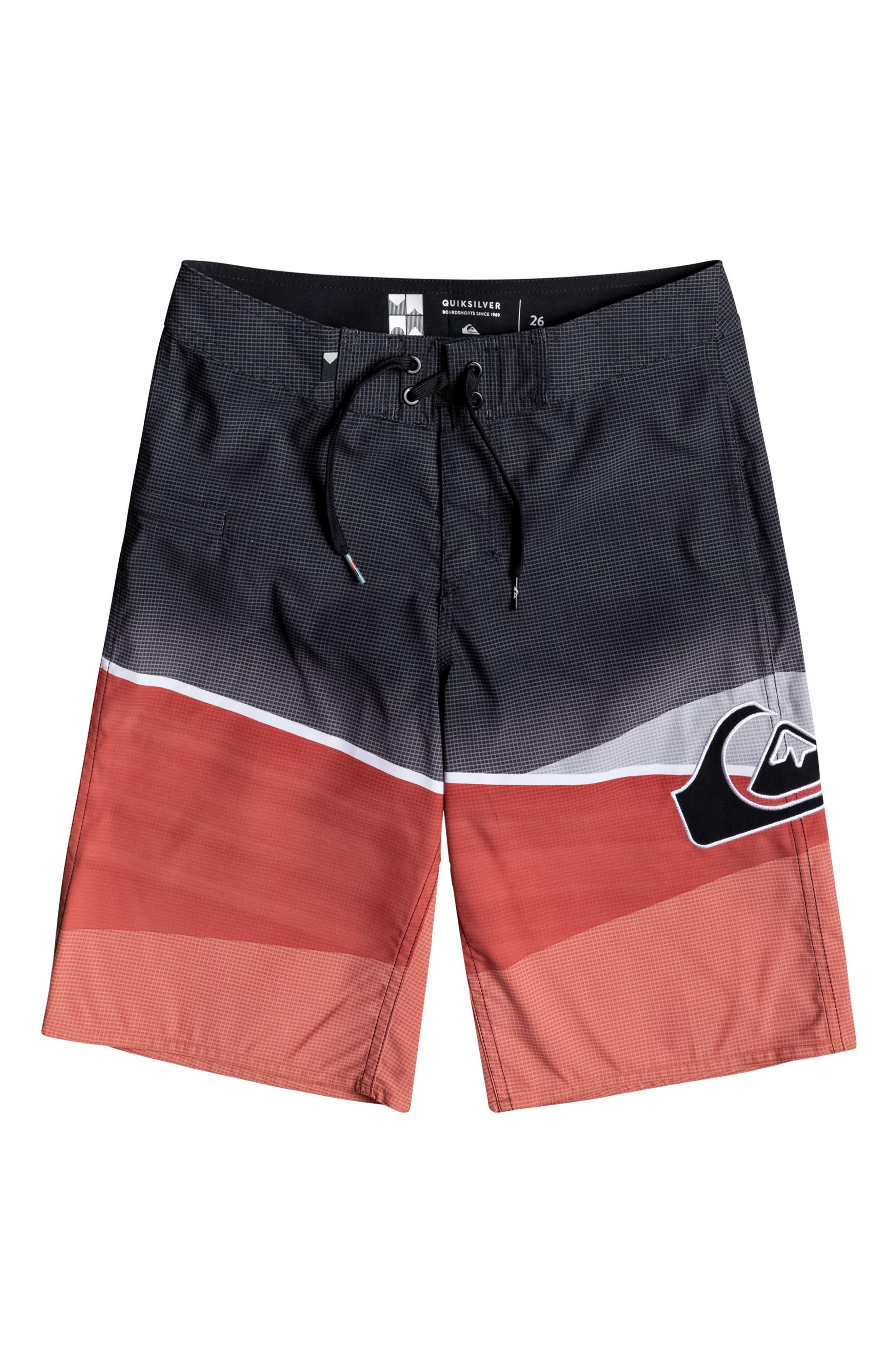 Slash Logo Board Shorts,                         Main,                         color, Cherry Tomato