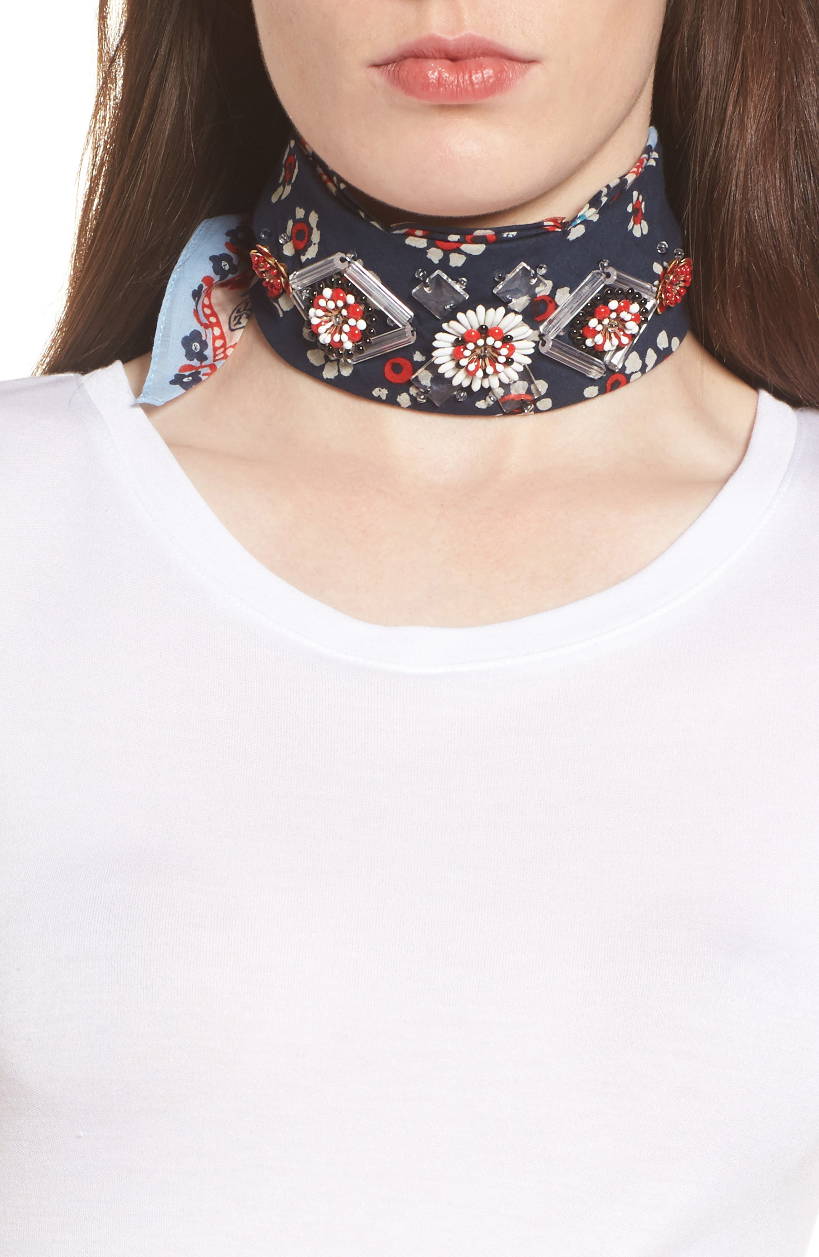 Embellished Floral Scarf,                             Main thumbnail 1, color,                             Navy Stamped Floral