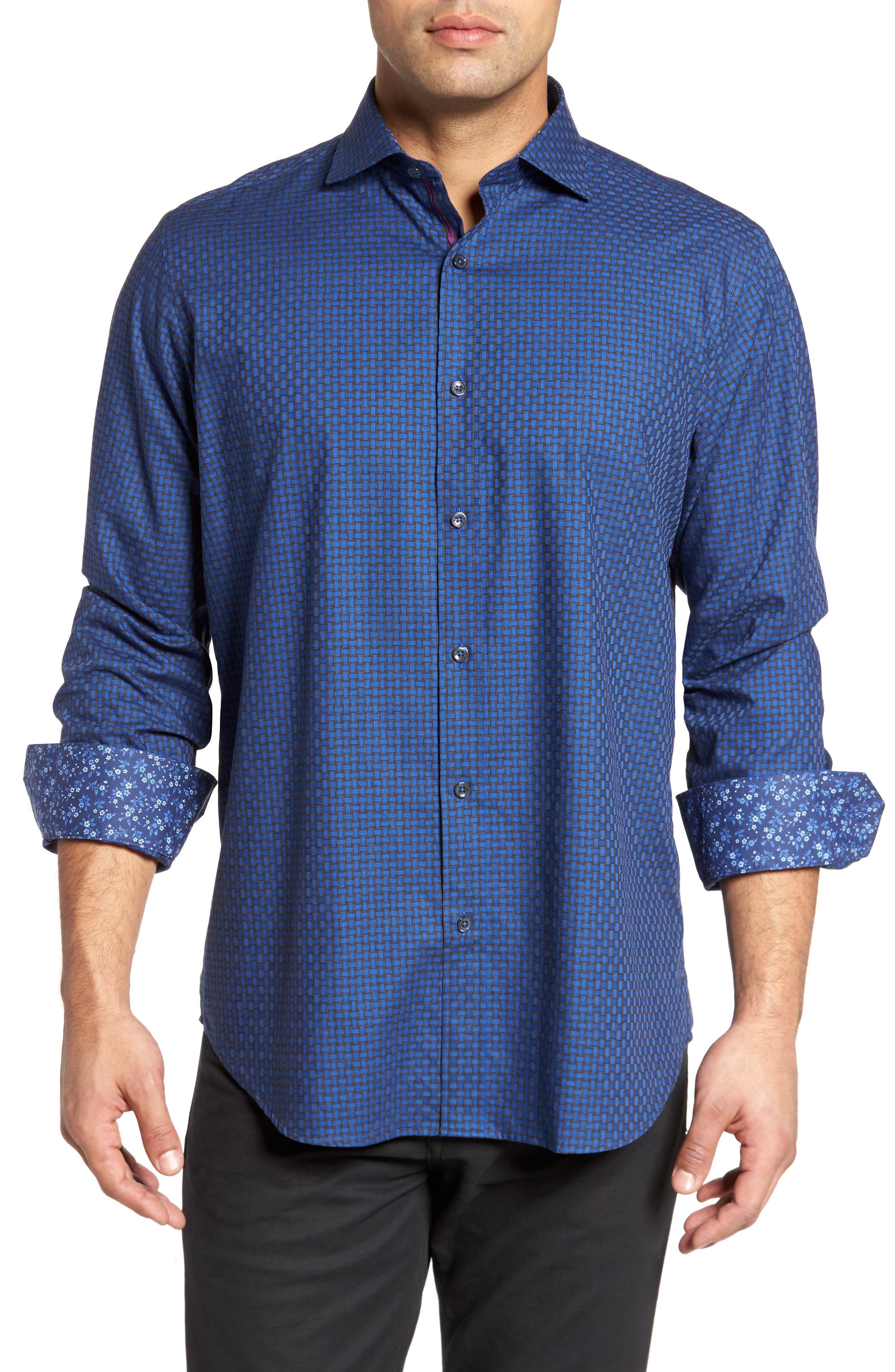 Classic Fit Basket Weave Jacquard Sport Shirt,                             Main thumbnail 1, color,                             Night Blue