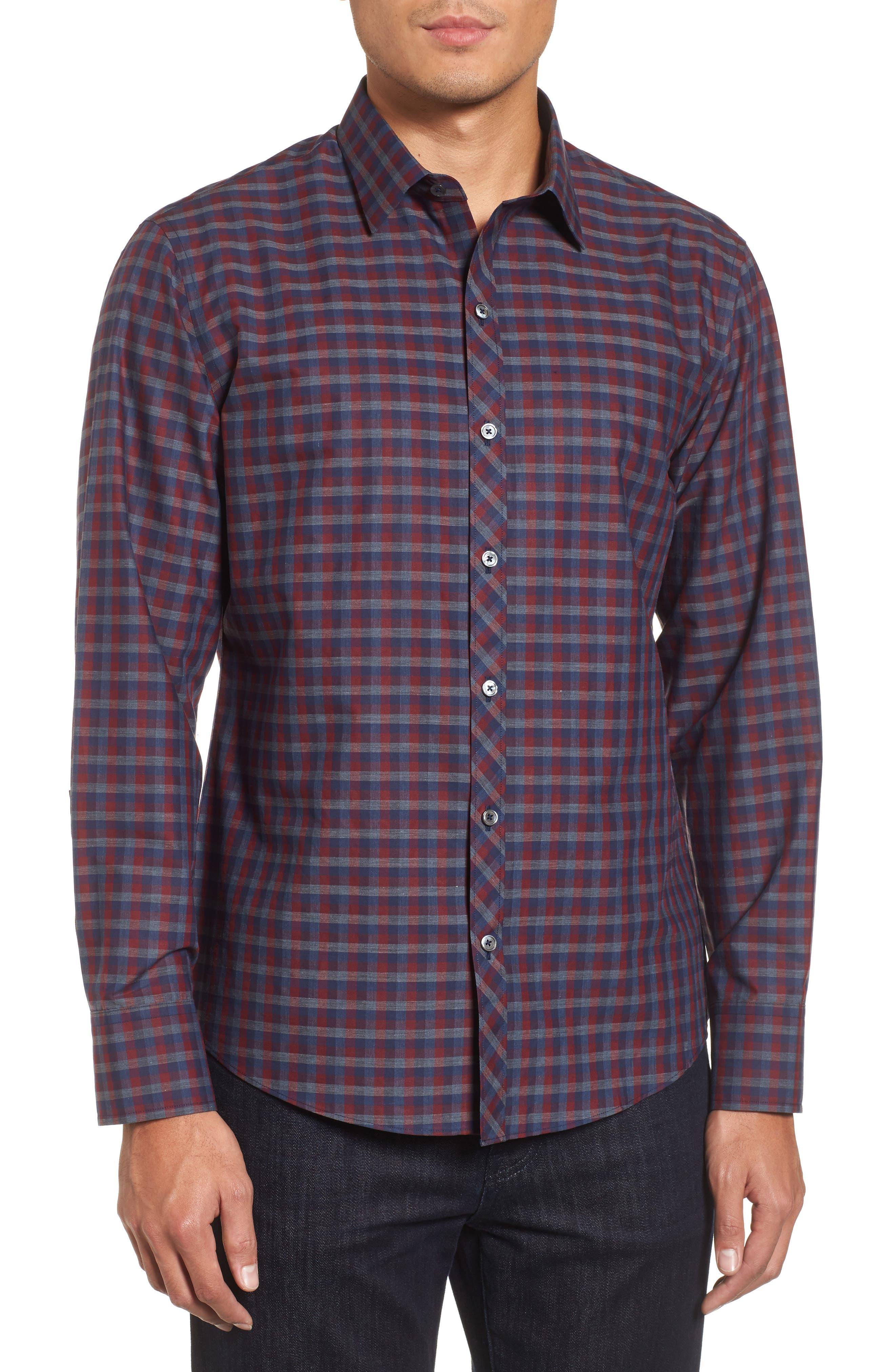 Dane Check Sport Shirt,                         Main,                         color, Red