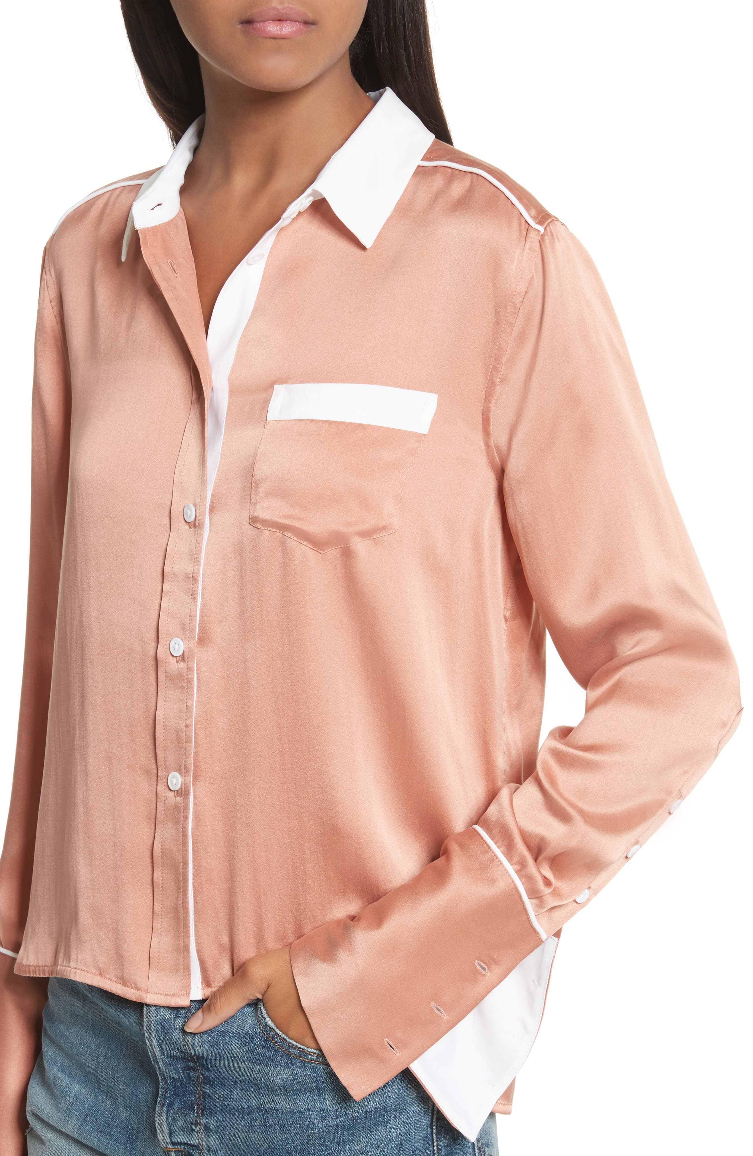 Huntley Contrast Silk Shirt,                             Alternate thumbnail 4, color,                             Wilted Rose