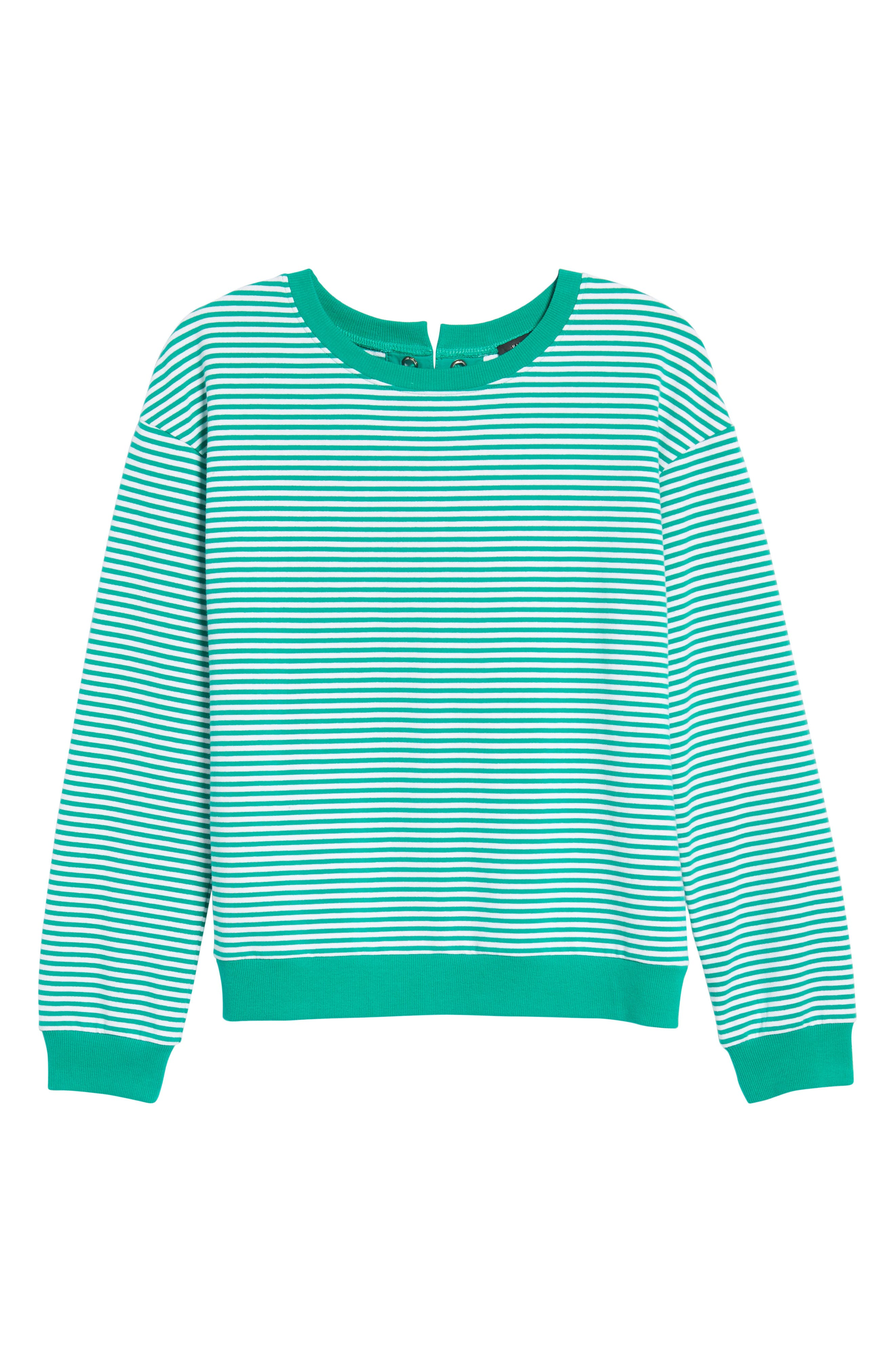 Lace-Up Knit Top,                             Alternate thumbnail 7, color,                             Green- White Stripe