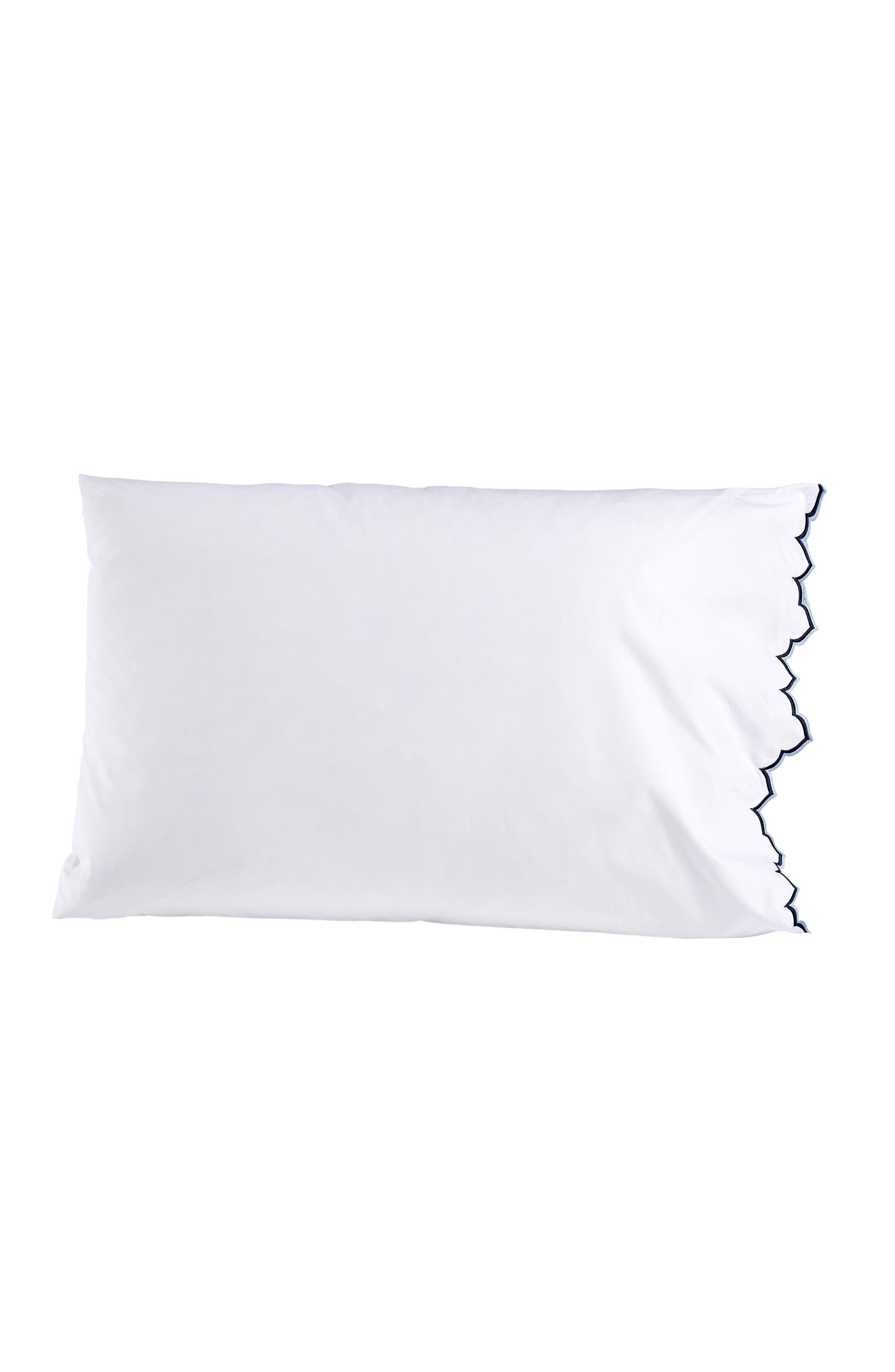 Sakuna 300 Thread Count Pillowcases,                         Main,                         color, White/ Indigo