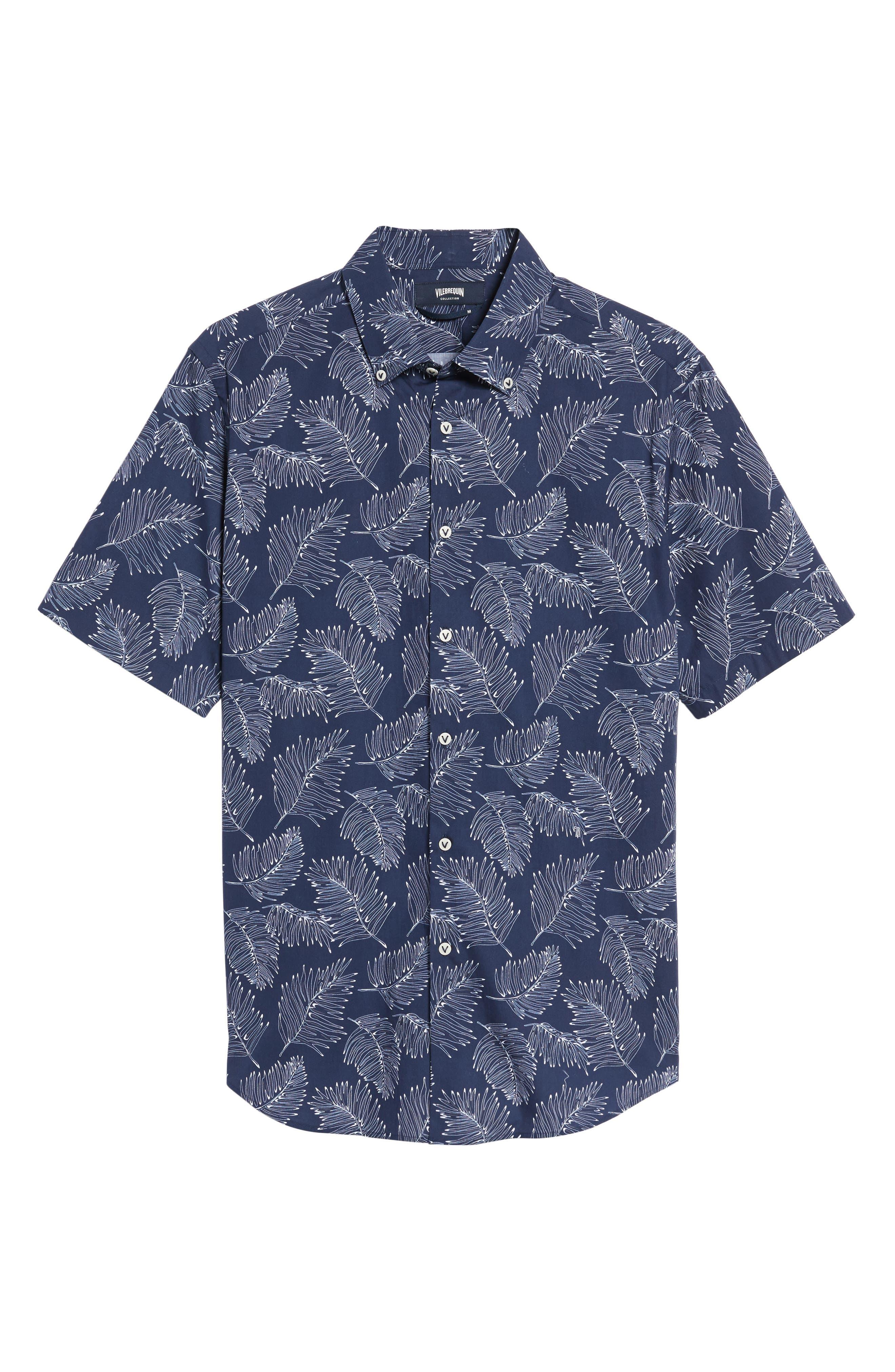 Slim Fit Palm Sport Shirt,                             Alternate thumbnail 6, color,                             V-Blue