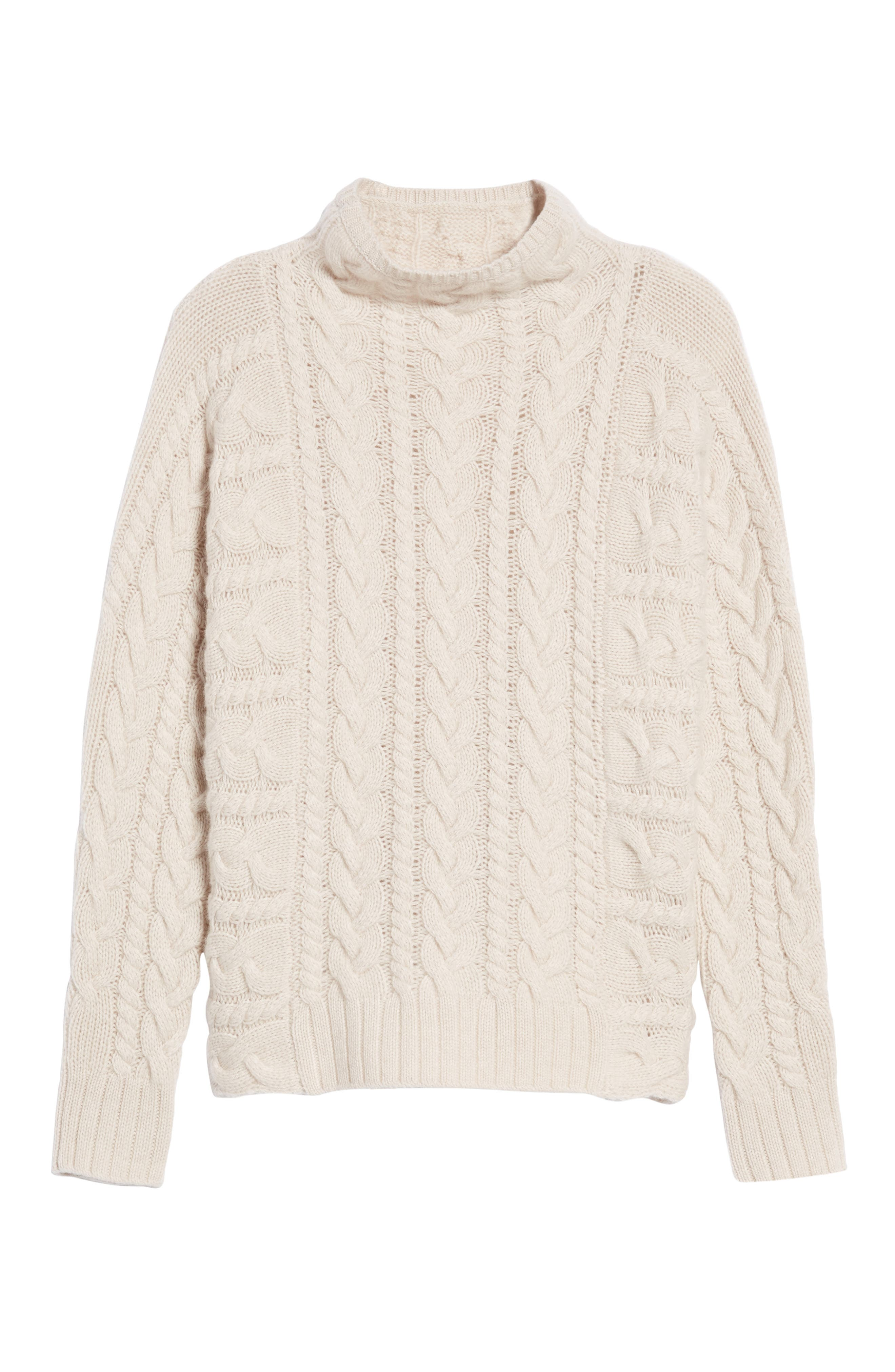Cashmere Cable Sweater,                             Alternate thumbnail 6, color,                             Beige Pumice Heather