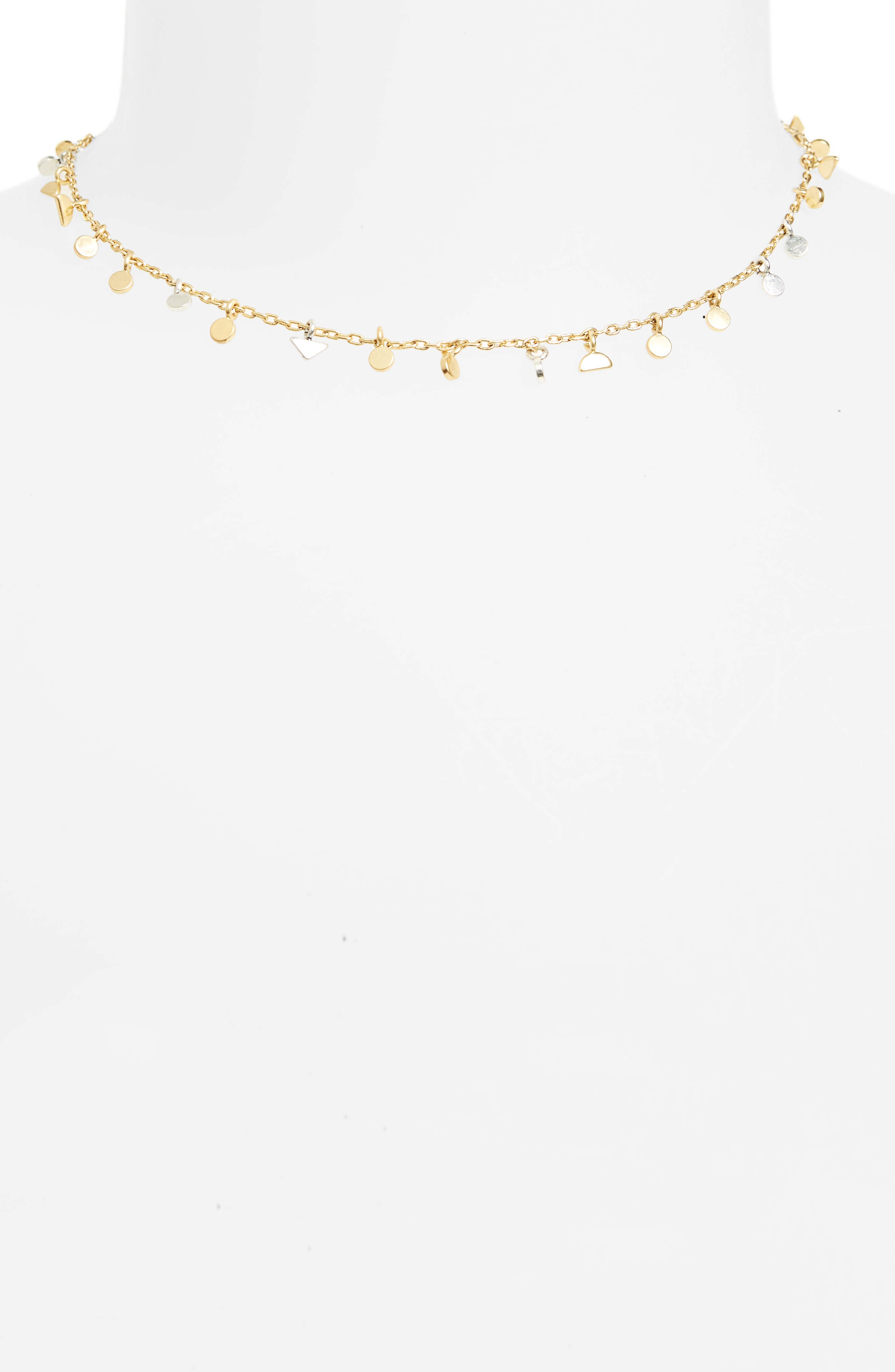 Delicate Geo Charm Choker Necklace,                         Main,                         color, Mixed Metal