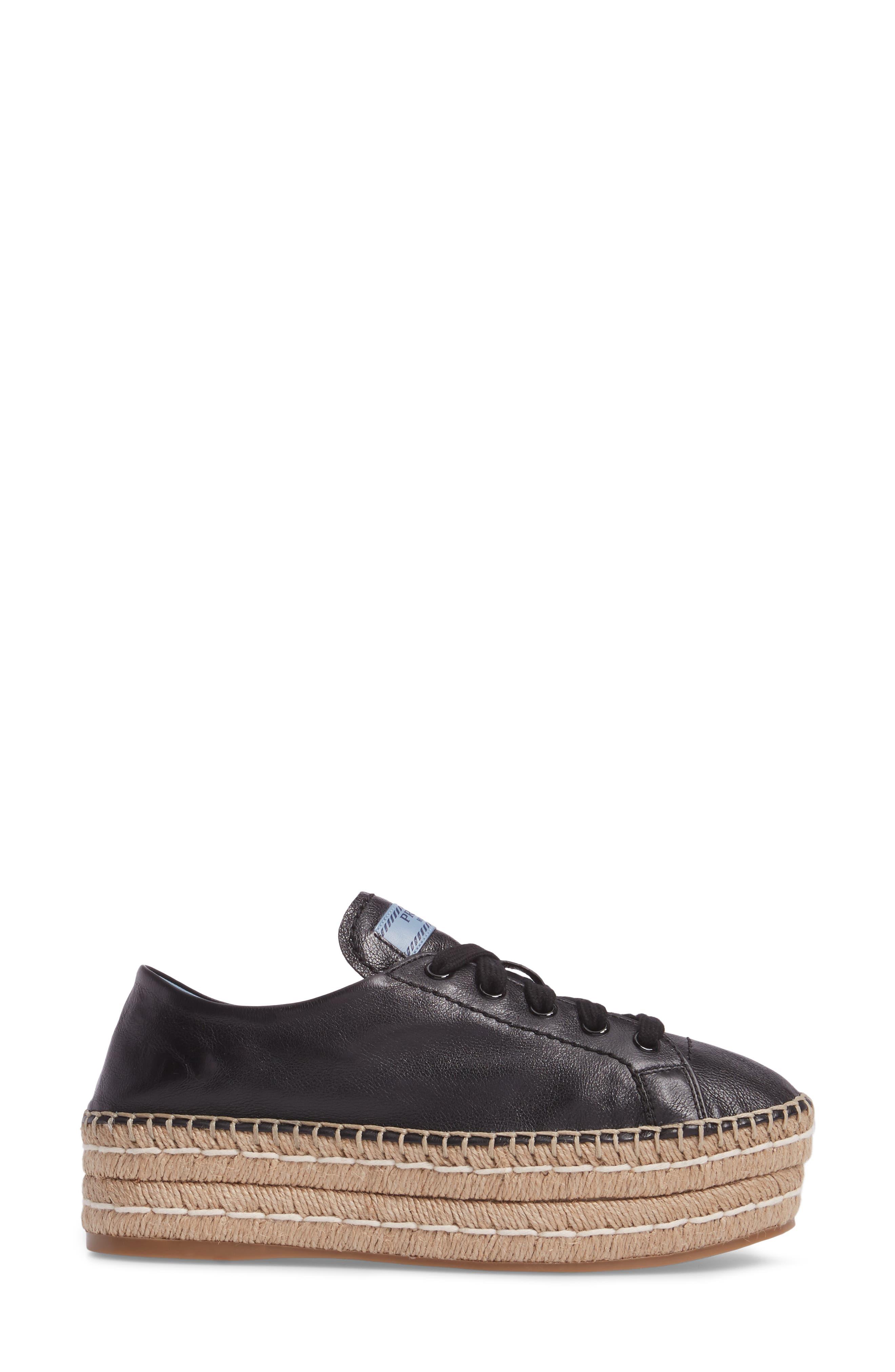 Flatform Espadrille Sneaker,                             Alternate thumbnail 3, color,                             Black