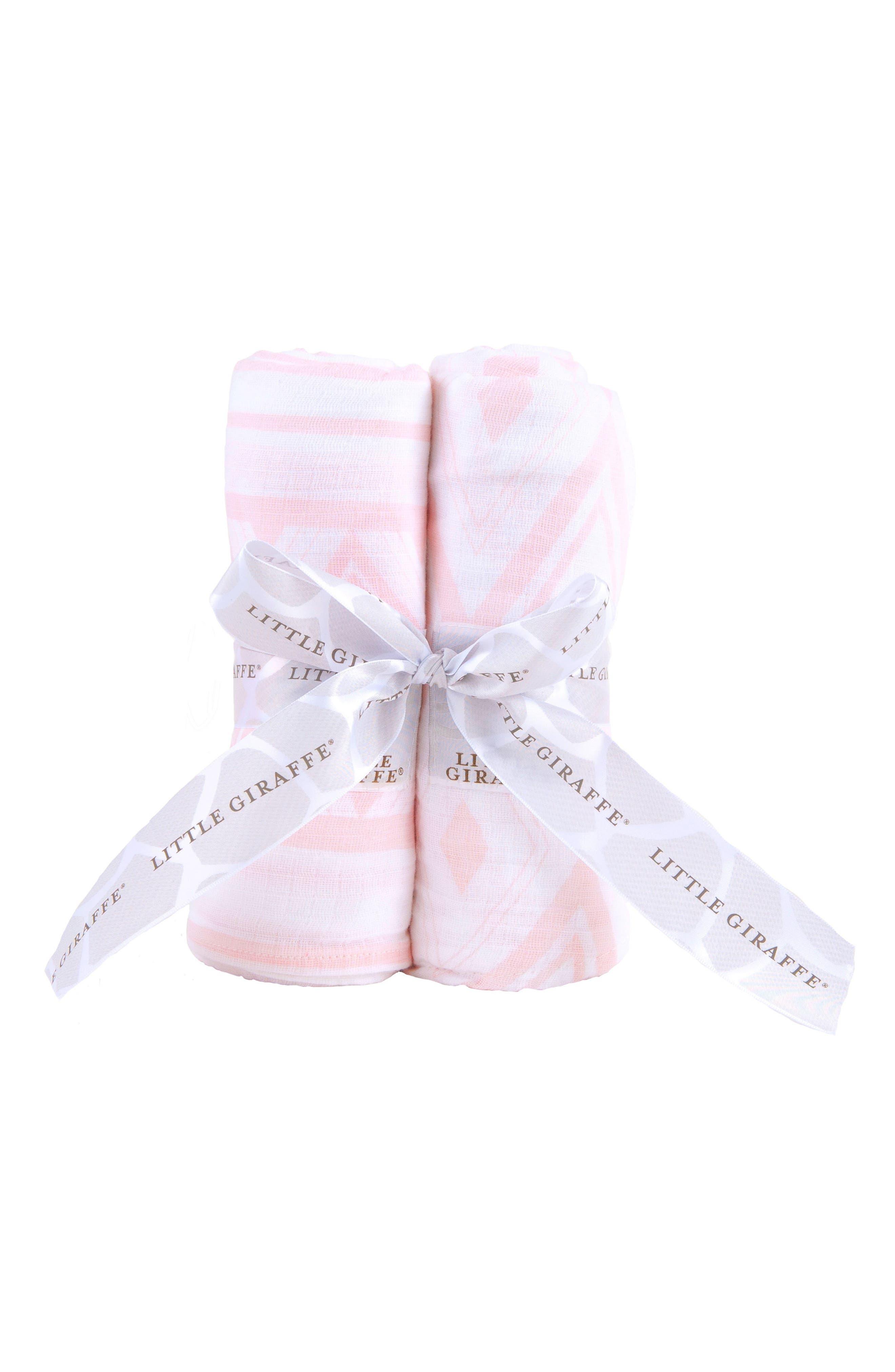 Set of 2 Swaddling Cloths,                             Main thumbnail 1, color,                             Pink