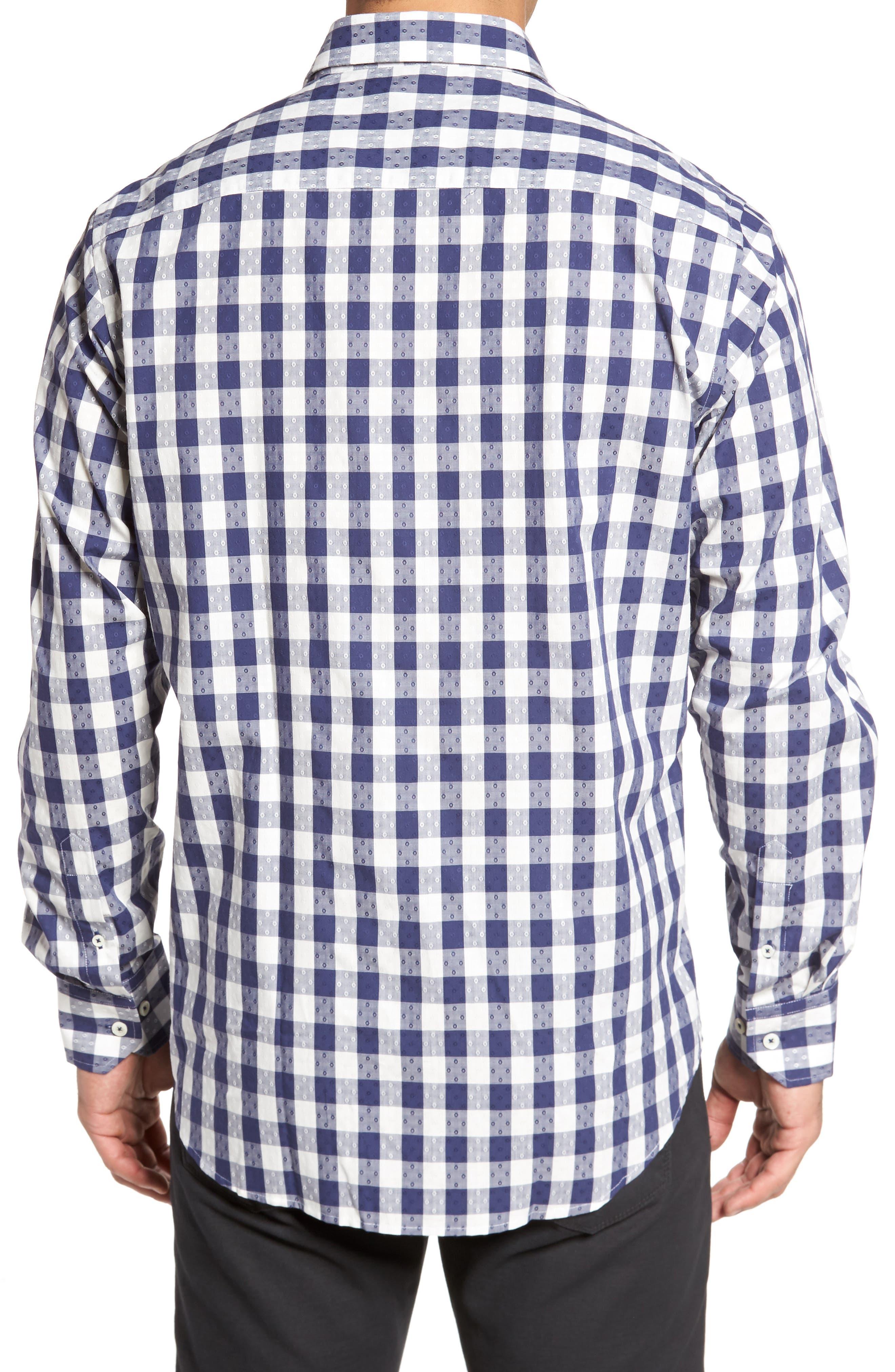 Classic Fit Dobby Gingham Sport Shirt,                             Alternate thumbnail 2, color,                             Navy