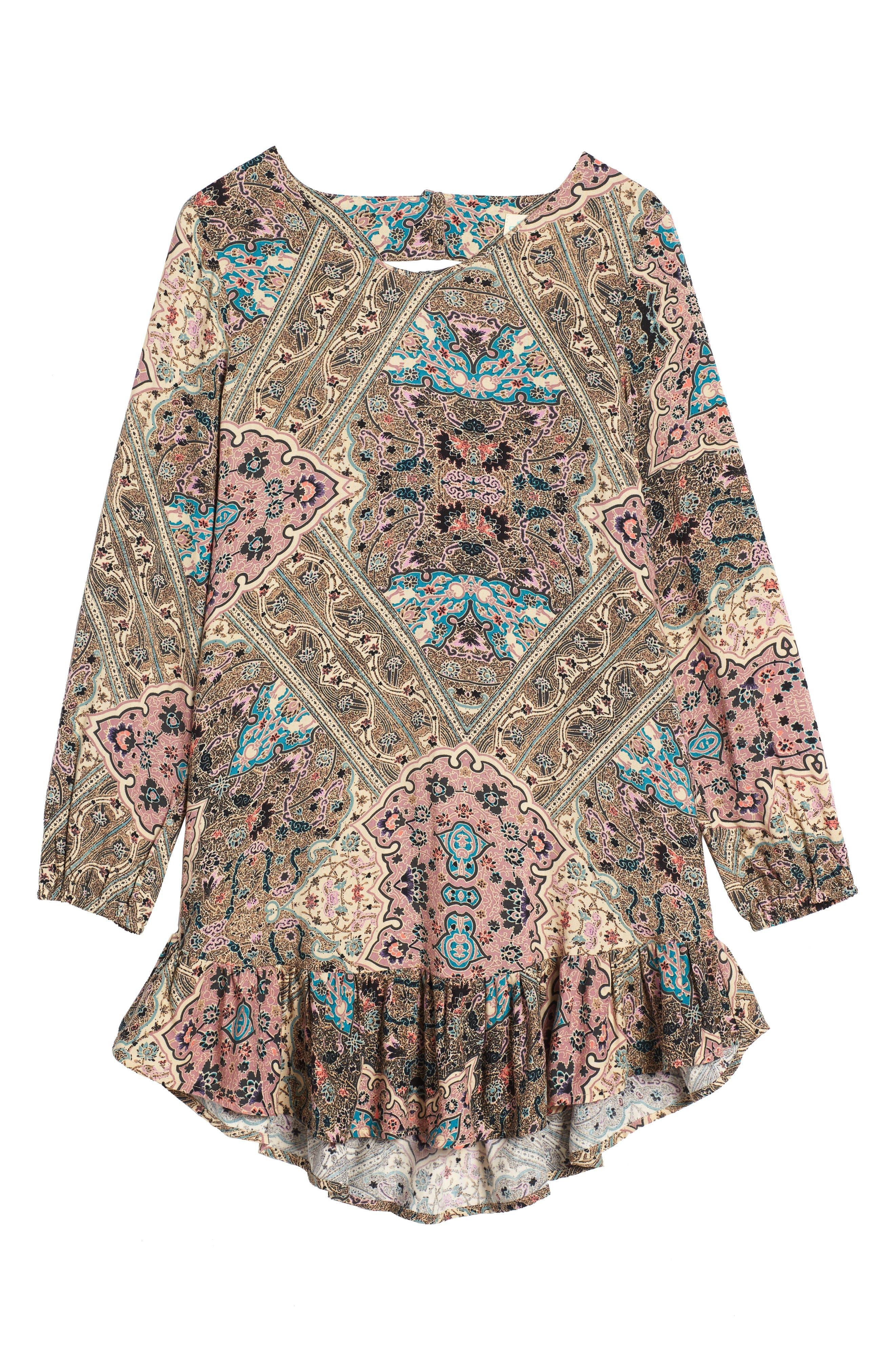 Samantha Print Dress,                             Main thumbnail 1, color,                             Naked