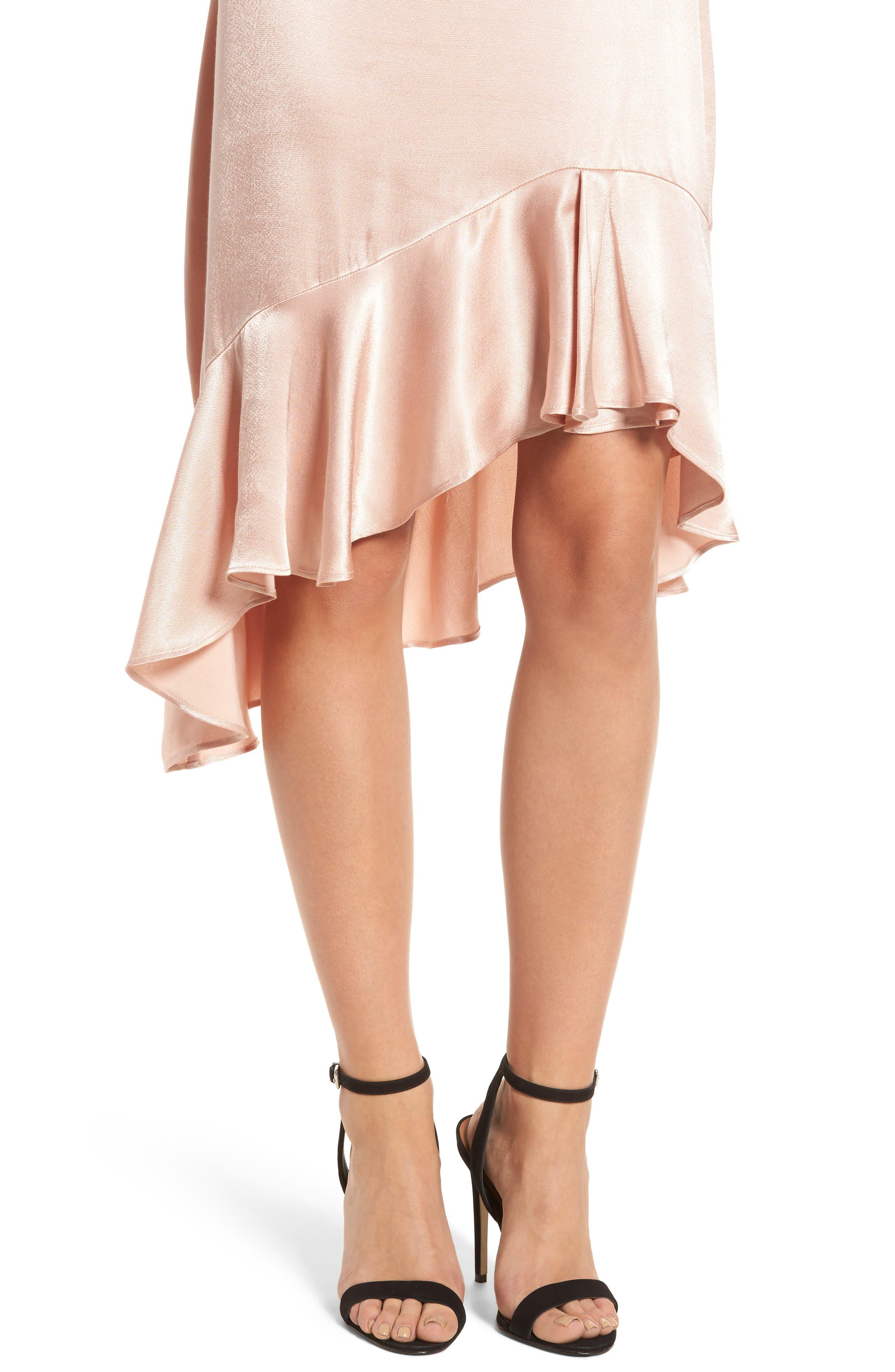 Sateen Ruffle Skirt,                             Alternate thumbnail 4, color,                             Beige Maple
