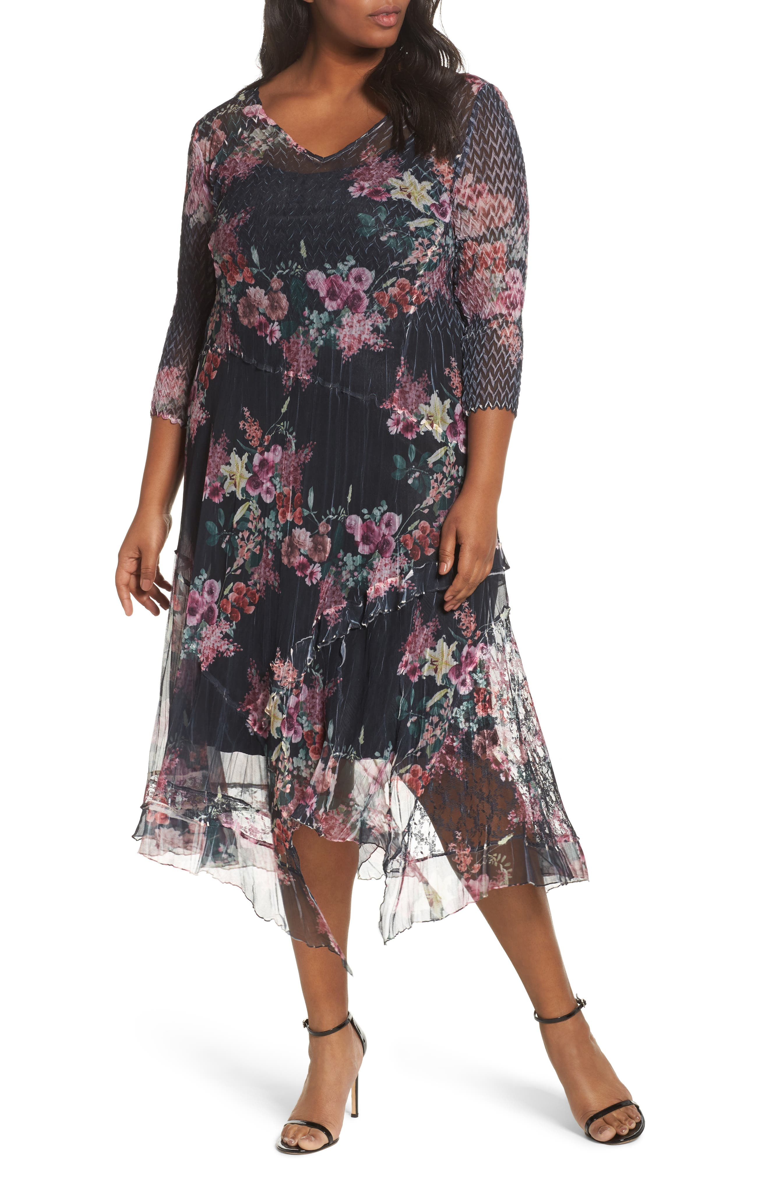 Floral Charmeuse & Chiffon A-Line Dress,                             Main thumbnail 1, color,                             Evening Garden