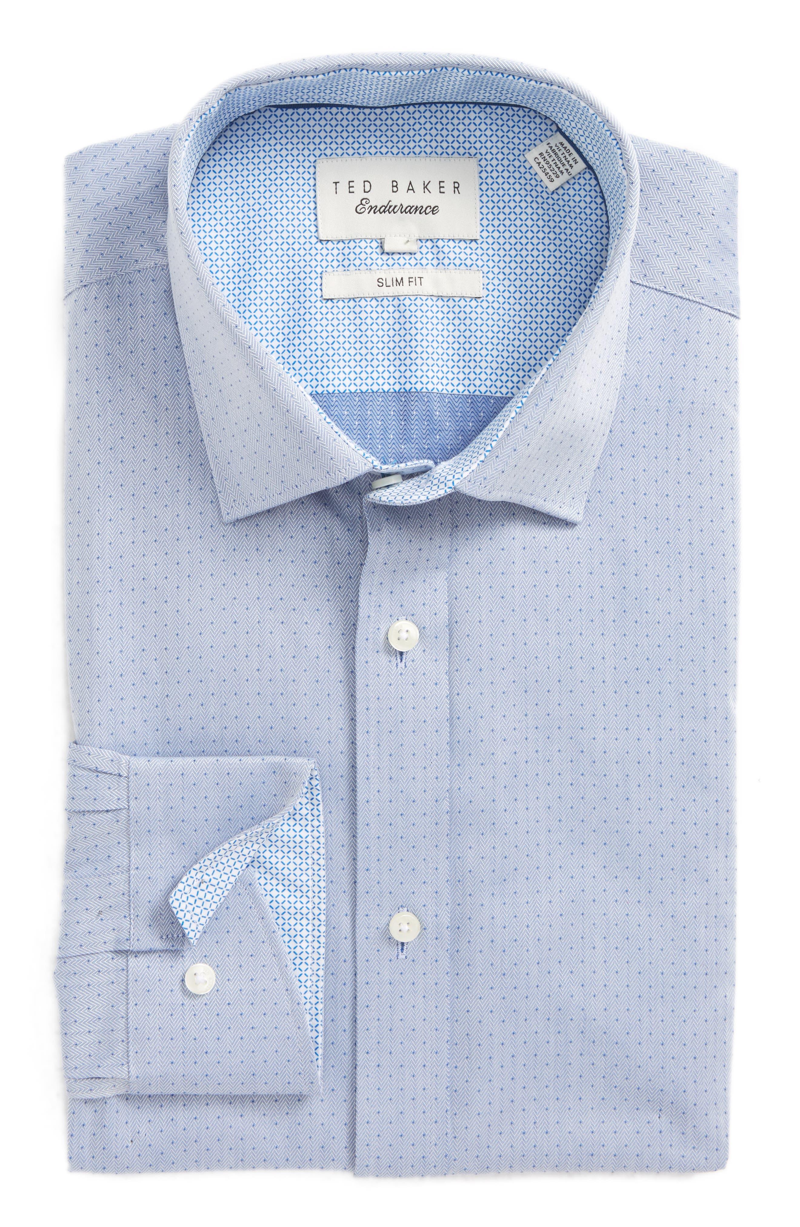 Boxli Trim Fit Herringbone Dress Shirt,                         Main,                         color, Blue