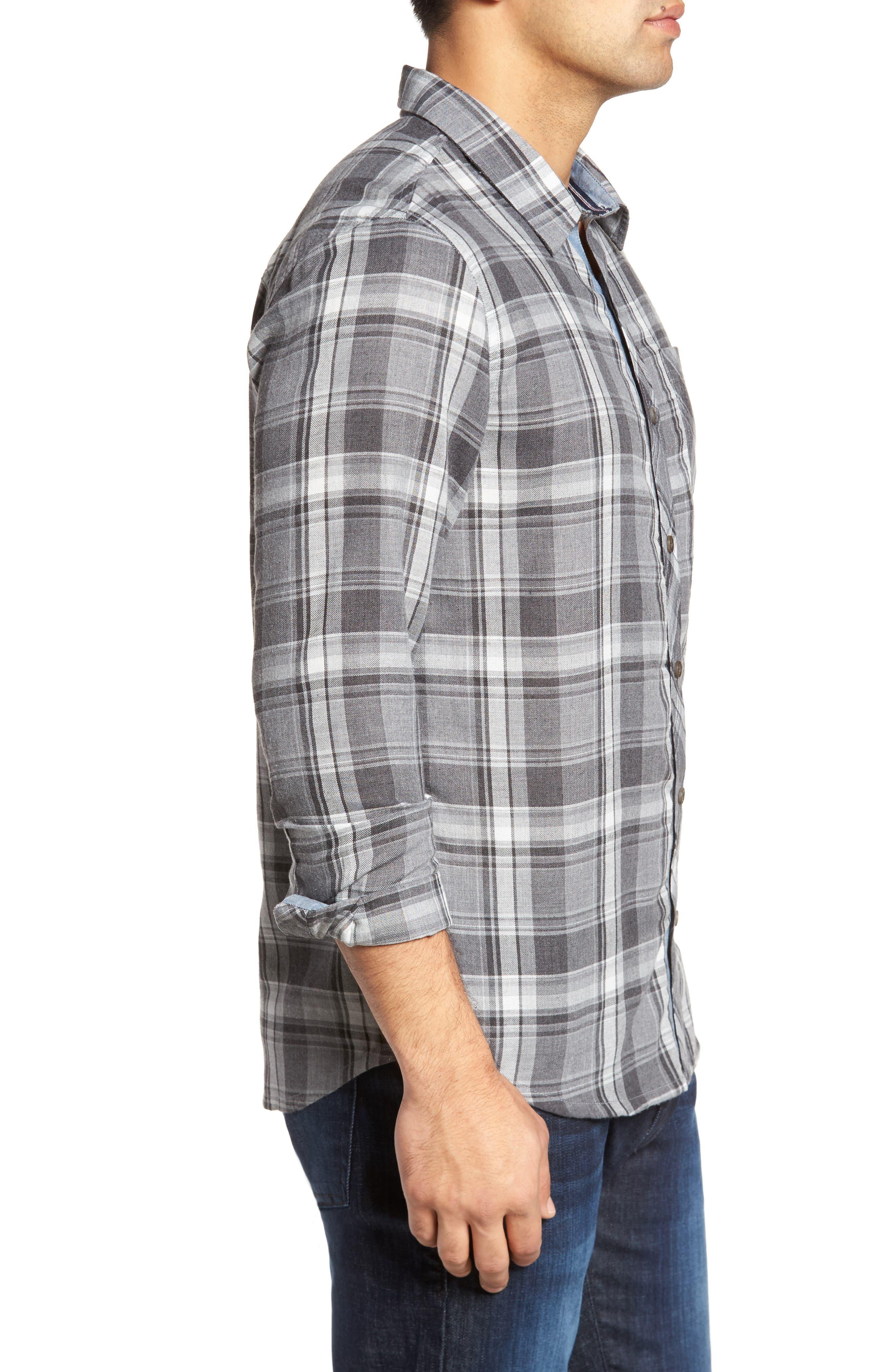 Shelter Plaid Sport Shirt,                             Alternate thumbnail 3, color,                             Grey