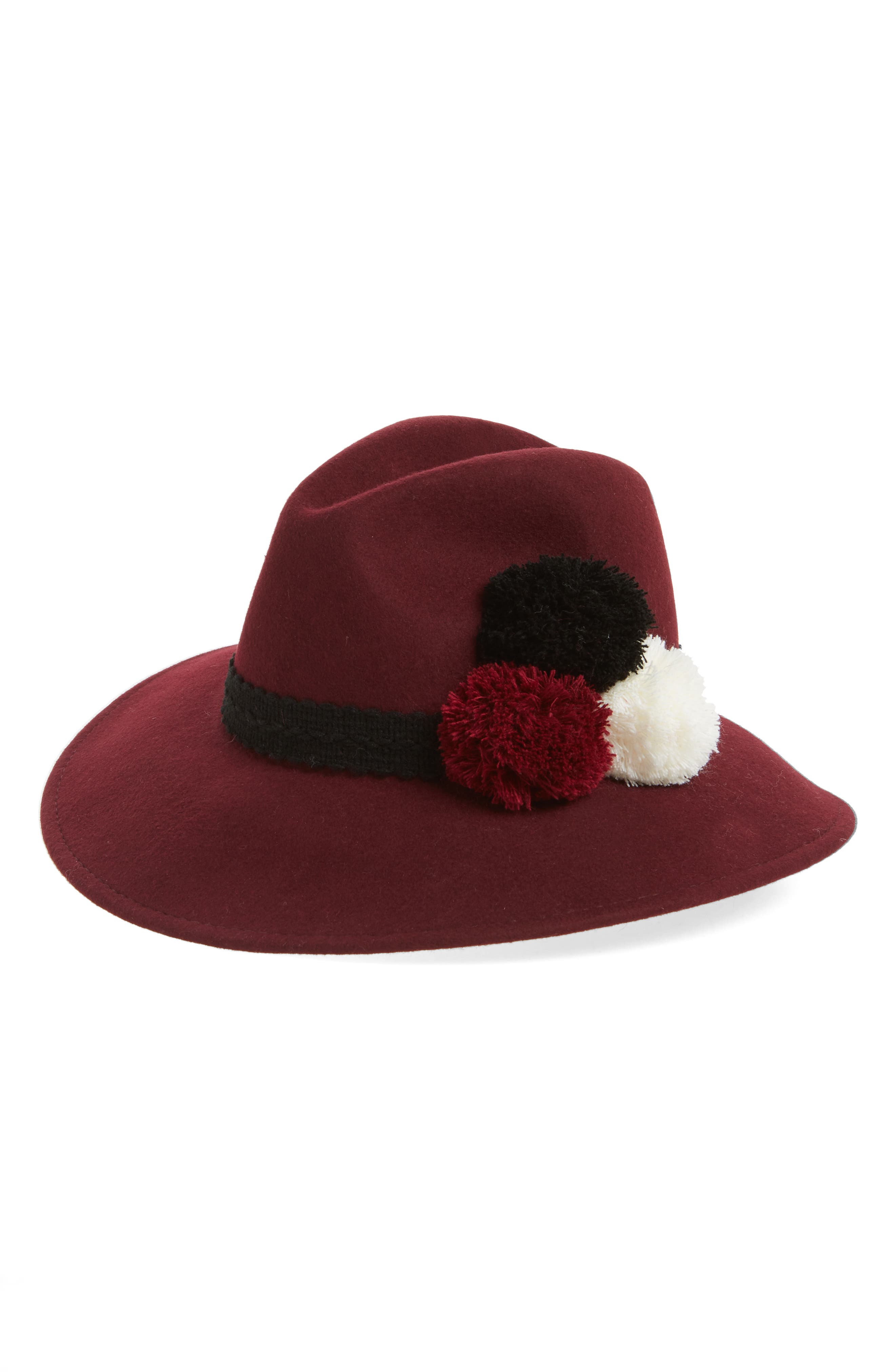 Pompom Wool Fedora,                         Main,                         color, Bordeaux