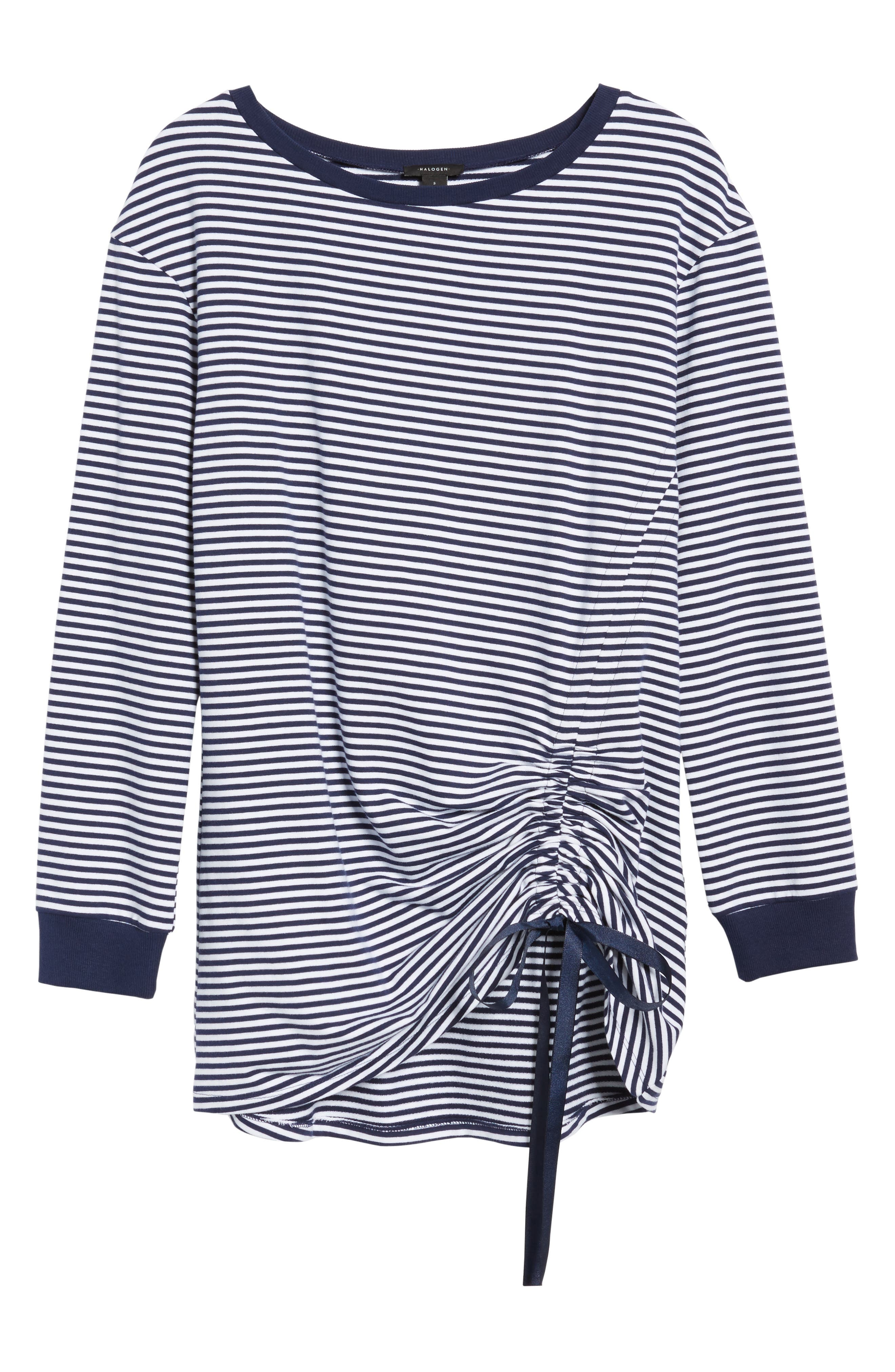 Ruched Front Tunic Sweatshirt,                             Alternate thumbnail 6, color,                             Navy- White Stripe