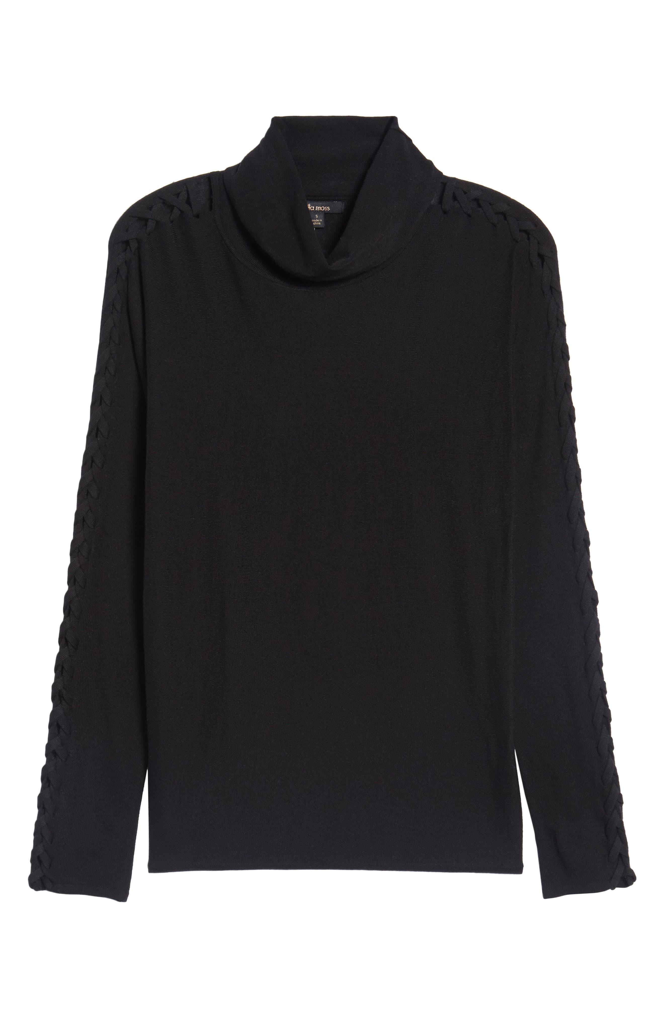 Victoire Turtleneck Sweater,                             Alternate thumbnail 6, color,                             Black
