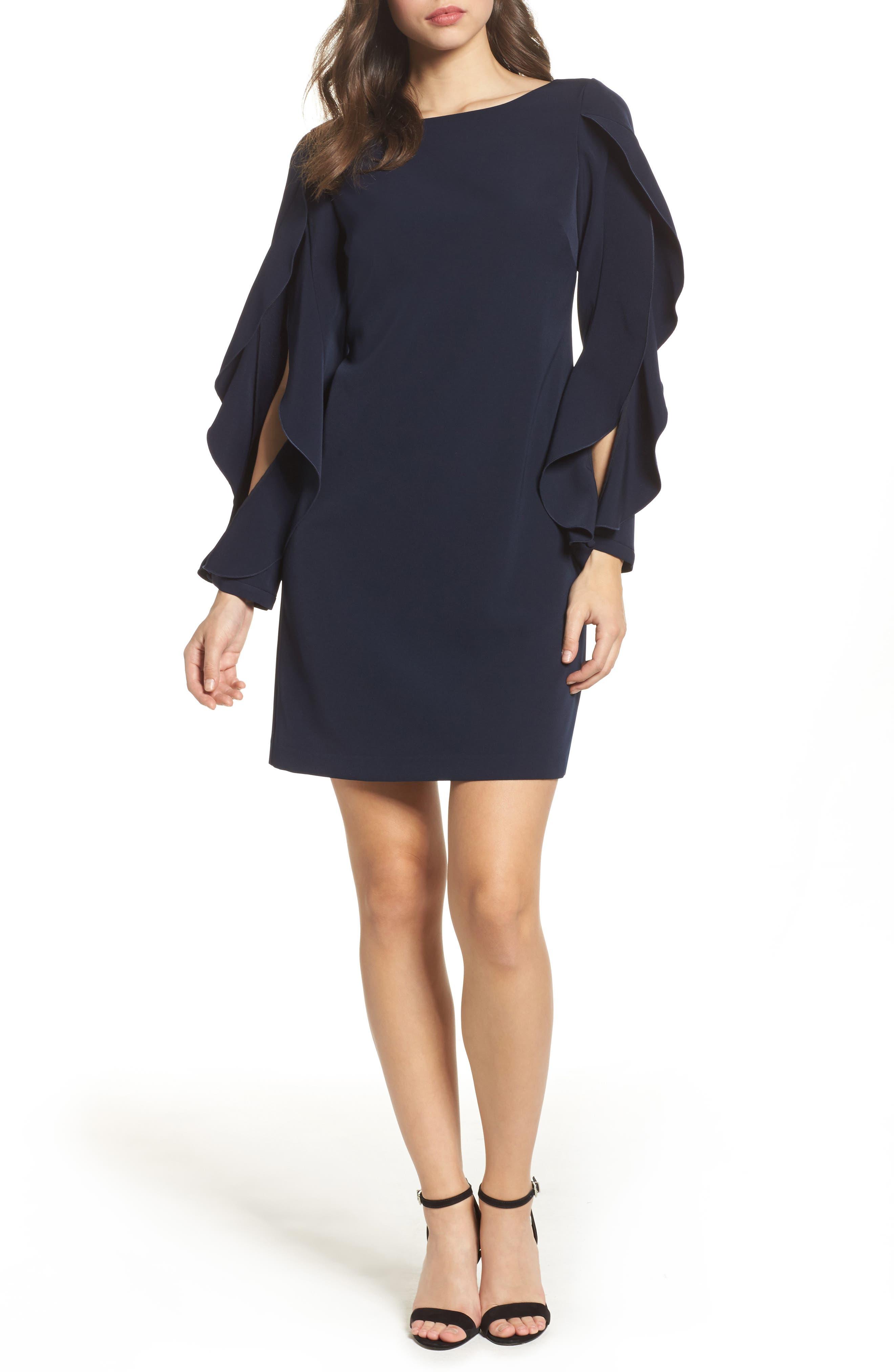 Ruffle Sleeve Shift Dress,                             Main thumbnail 1, color,                             Navy