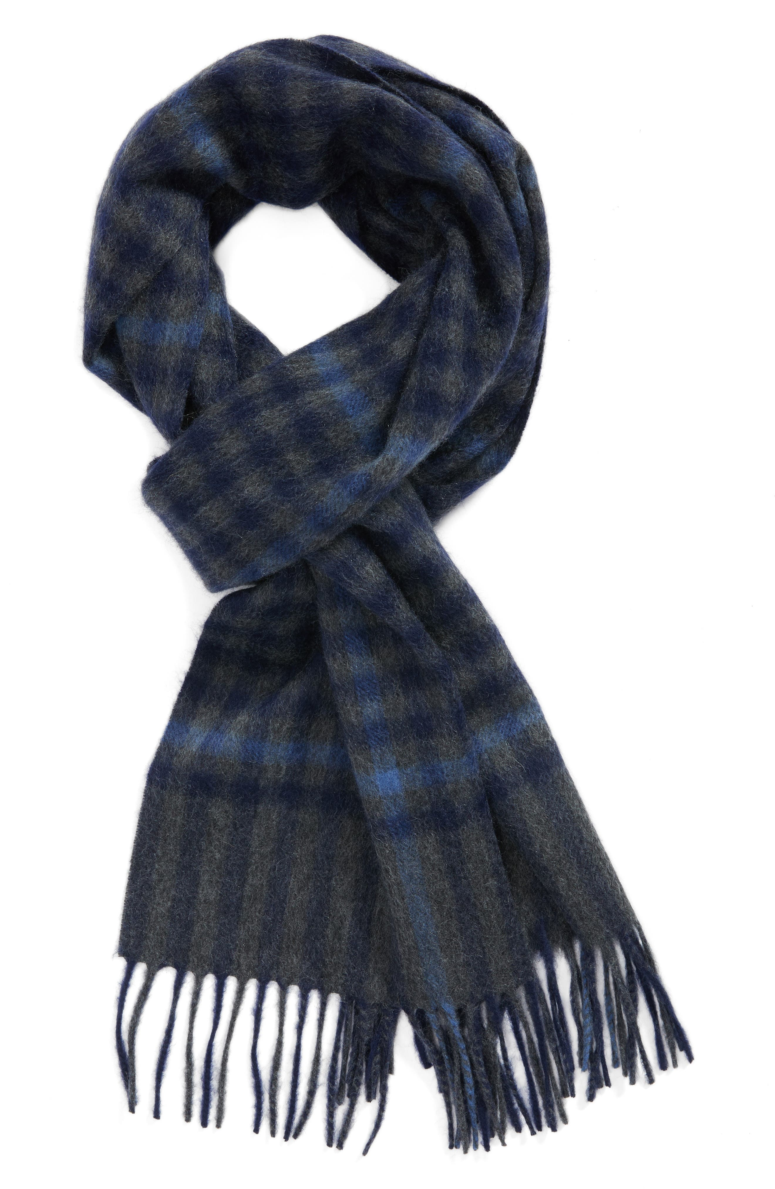 Nordstrom Men's Shop Gingham Check Cashmere Scarf