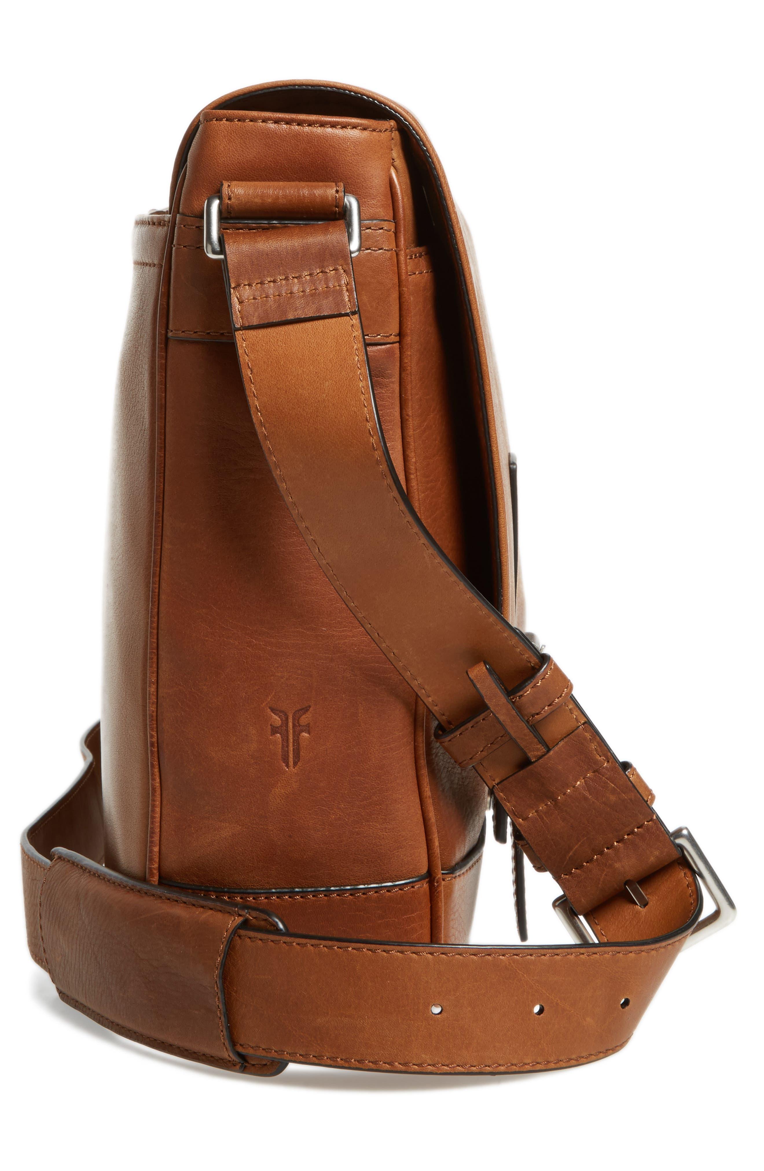 Oliver Leather Messenger Bag,                             Alternate thumbnail 5, color,                             Cognac